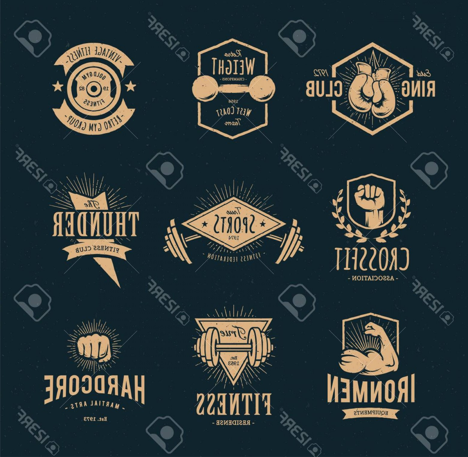 Champions Gym Vector: Photostock Vector Set Of Retro Styled Fitness Emblems Vintage Gym Icon Templates Vector Illustrations