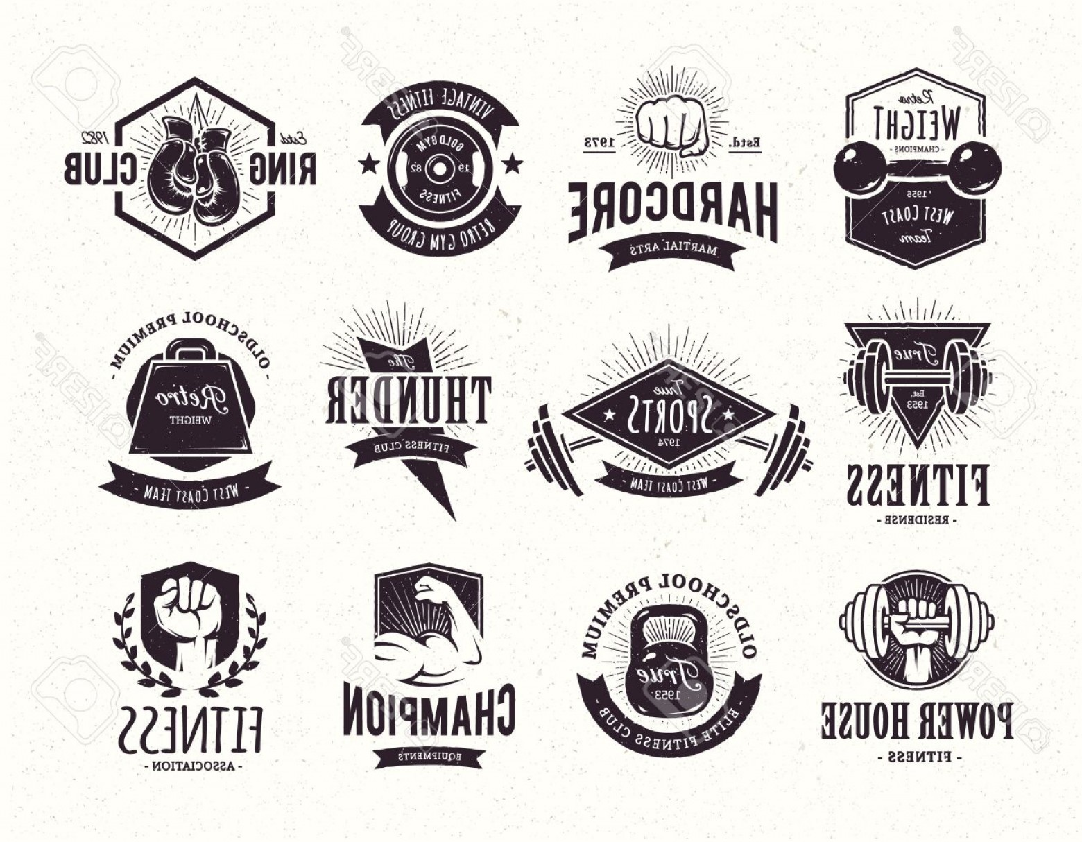 Champions Gym Vector: Photostock Vector Set Of Retro Styled Fitness Emblems Vintage Gym Logo Templates Vector Illustrations