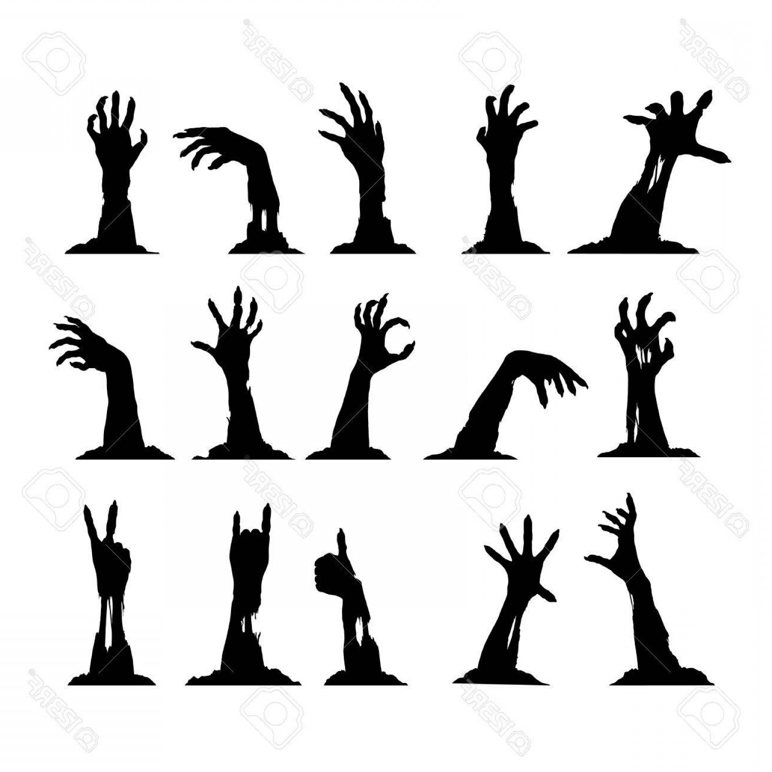 Hand Vector Clip Art: Photostock Vector Set Of Silhouettes Of Zombie Hands Collection For Halloween Themes And Greetings Vector Clip Art Eps