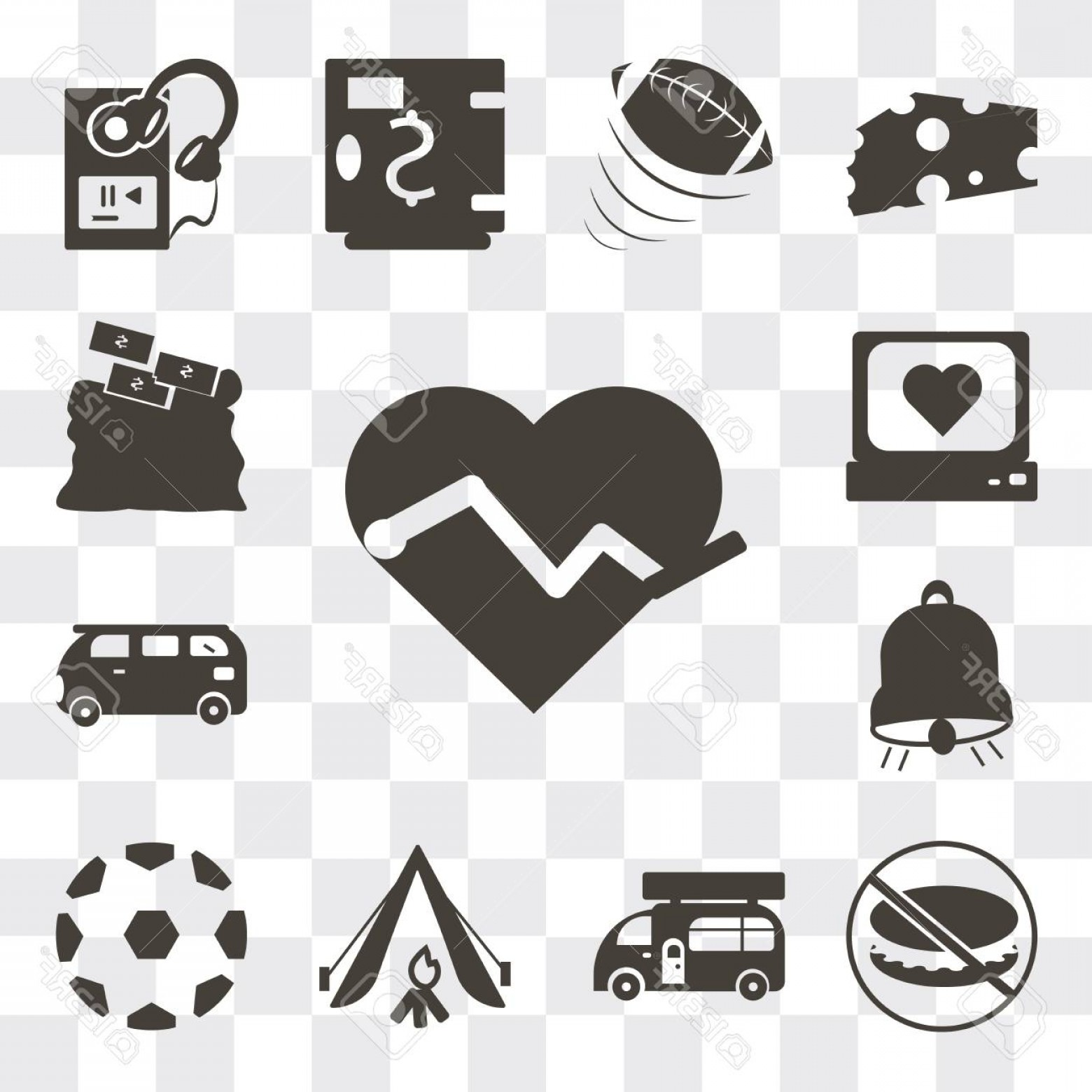 Soccer Ball Heart Beat Vector: Photostock Vector Set Of Simple Editable Icons Such As Electrocardiogram On Heart Shape Soccer Ball With Pentagons