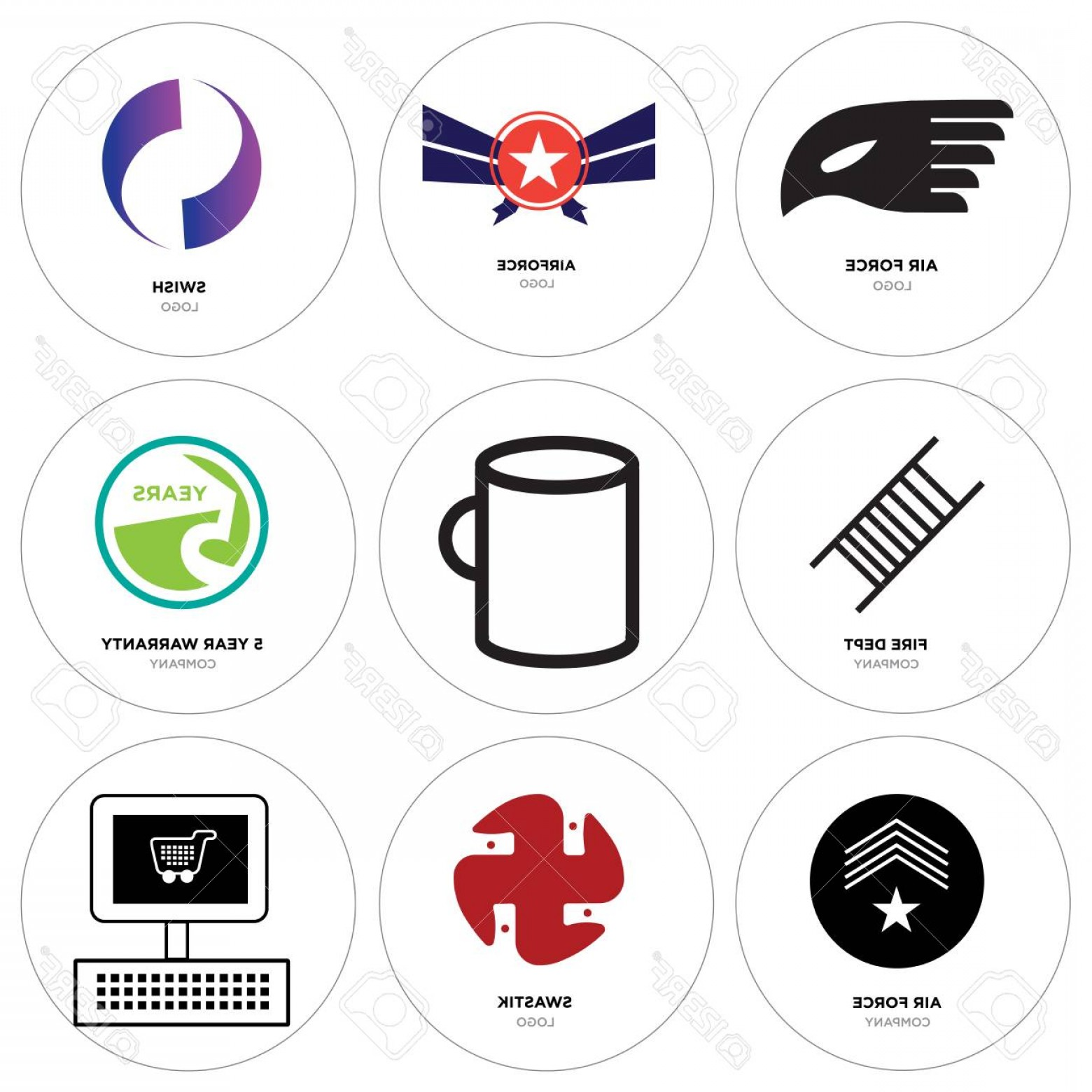 Vector Swoosh Simple Two Line: Photostock Vector Set Of Simple Editable Icons Such As On Swastik Air Force Year Warranty Cup Fire Dept Gradient P