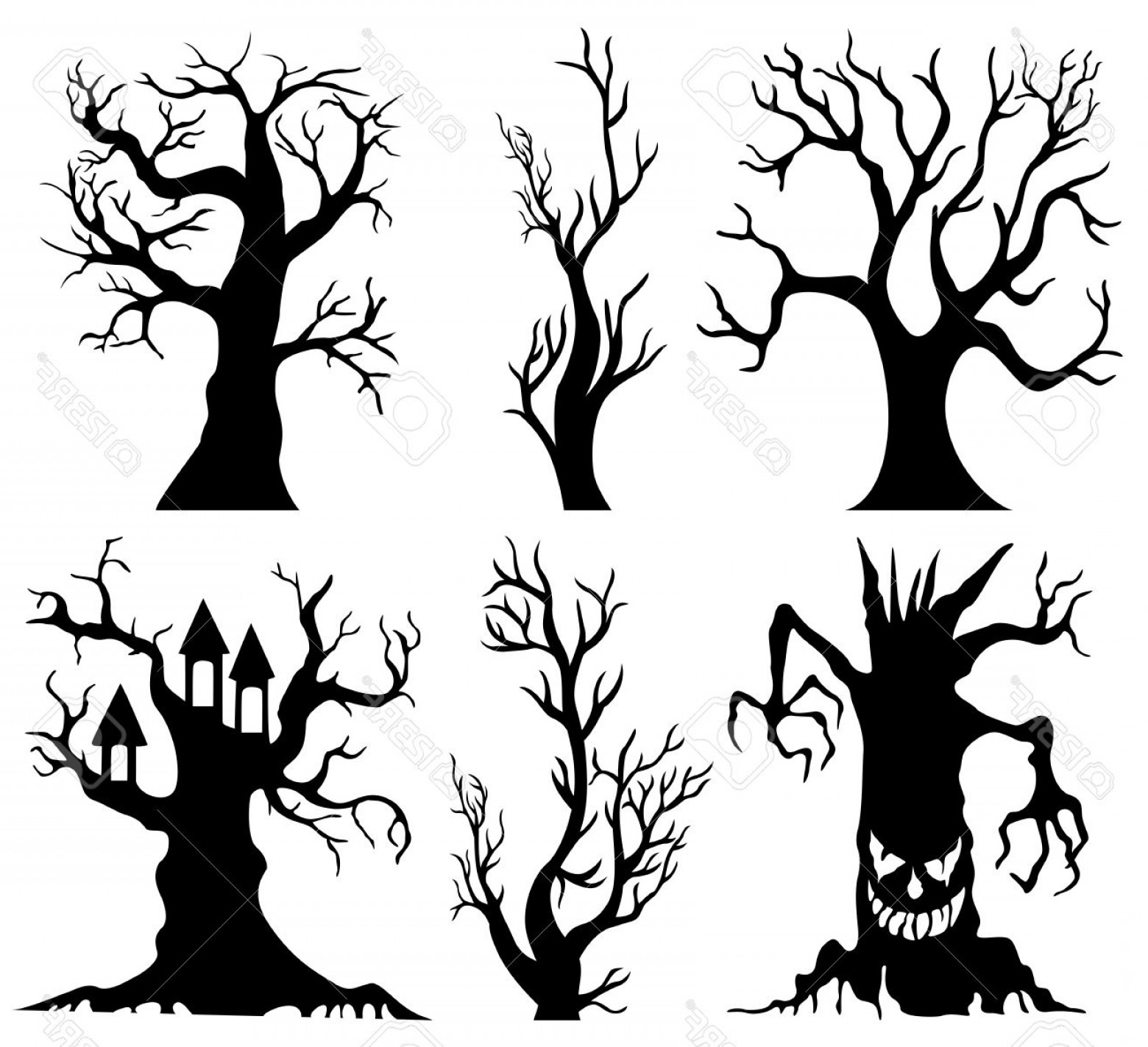 Contoon Free Black Vector Tree: Photostock Vector Set Of Spooky Halloween Tree Cartoon