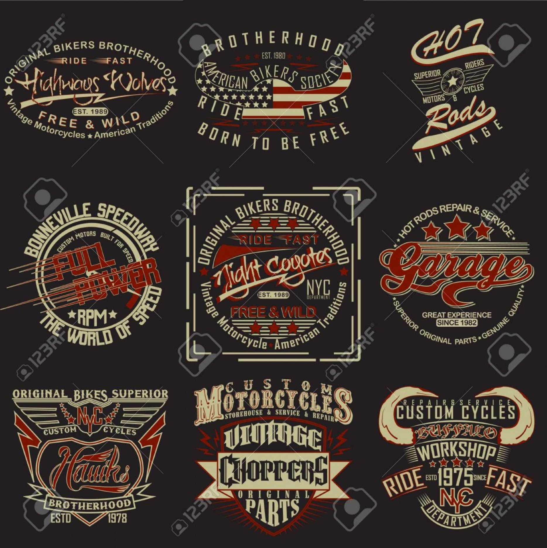 Vector Stamp Shirts: Photostock Vector Set Of T Shirt Graphic Designs Vintage Print Stamps Typography Emblems Of Garage Or Brotherhoods Bik