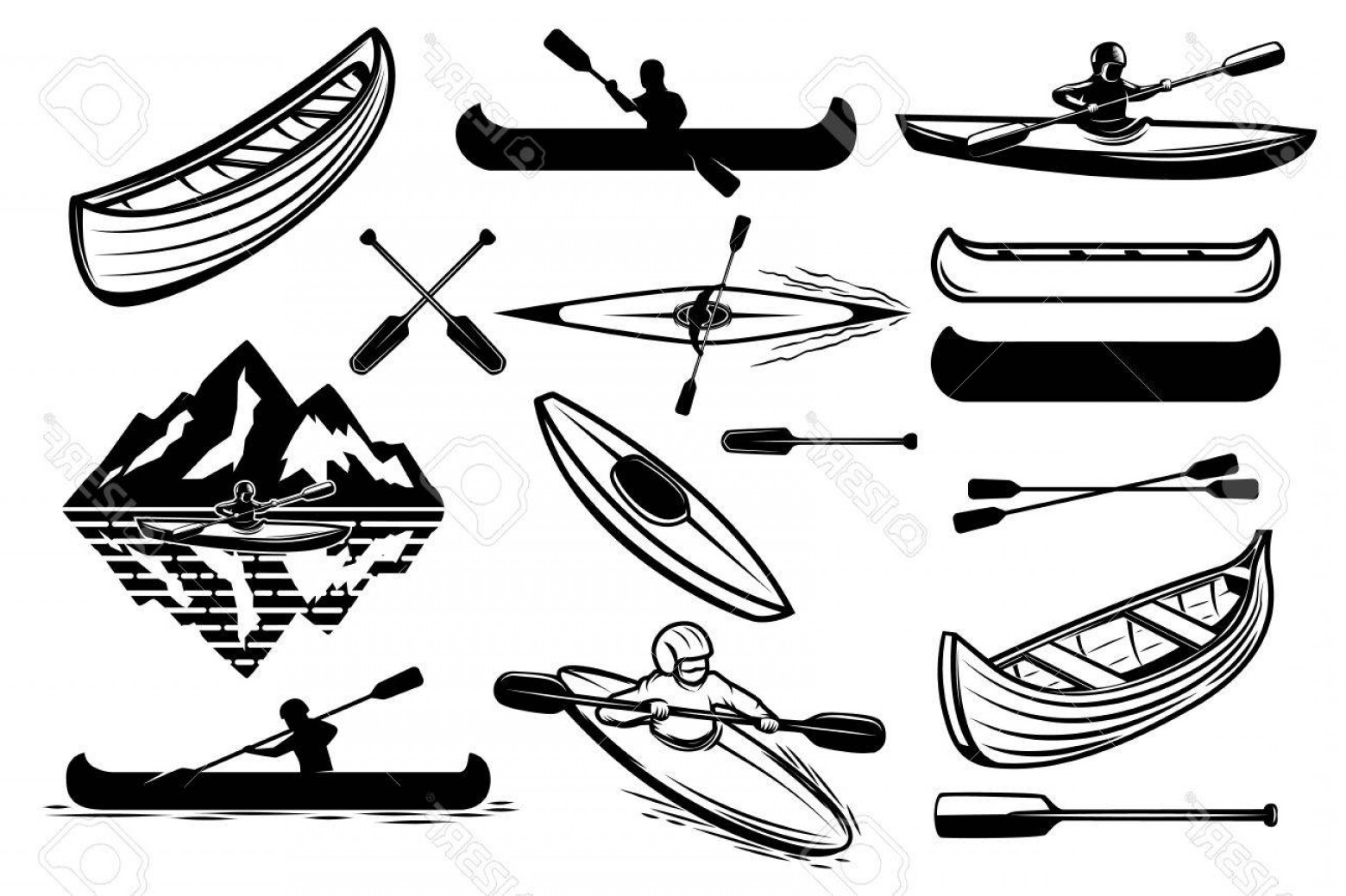 Canoe Vector: Photostock Vector Set Of The Kayaking Sport Icons Canoe Boats Oarsmans Design Elements For Logo Label Emblem Sign Vect