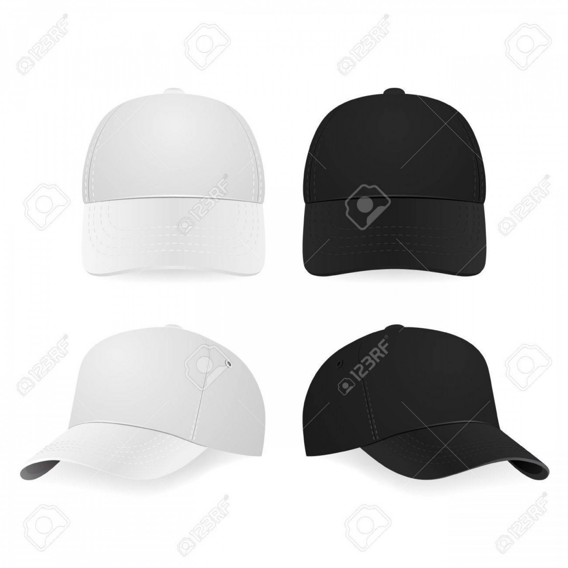 Black Baseball Cap Vector: Photostock Vector Set Of Two Realistic White And Black Baseball Caps Isolated On White Background Vector Illustration