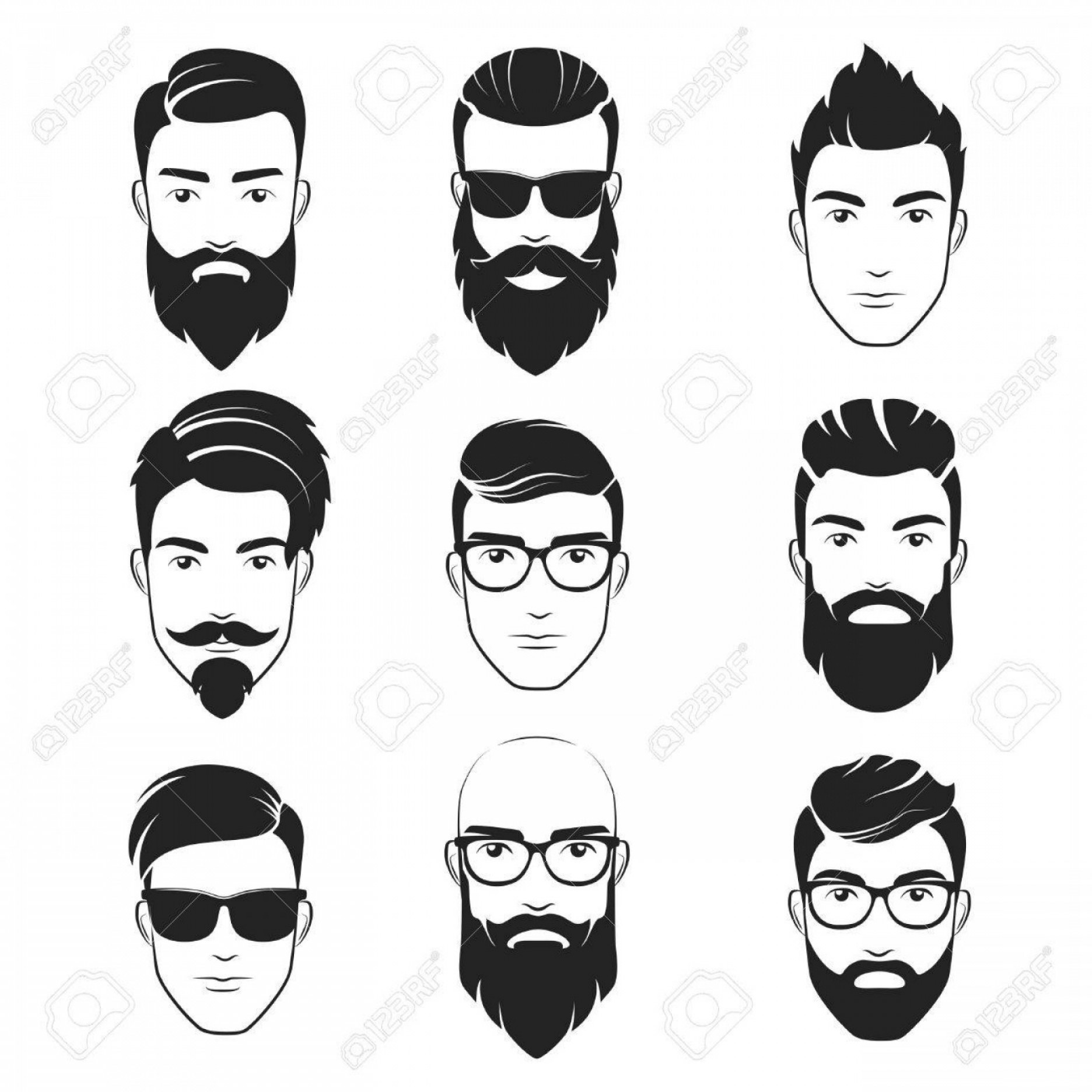 Mustache Face Vector: Photostock Vector Set Of Vector Bearded Hipster Men Faces Haircuts Beards Mustaches Set Handsome Man Emblems Icons