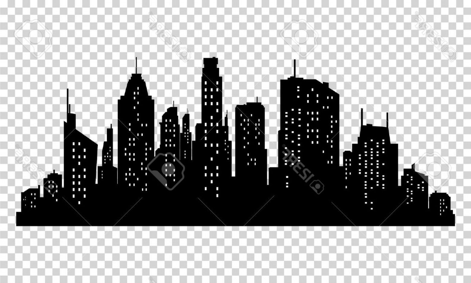 City Vector: Photostock Vector Set Of Vector City Silhouette And Elements For Design Isolated On Pixelated Background