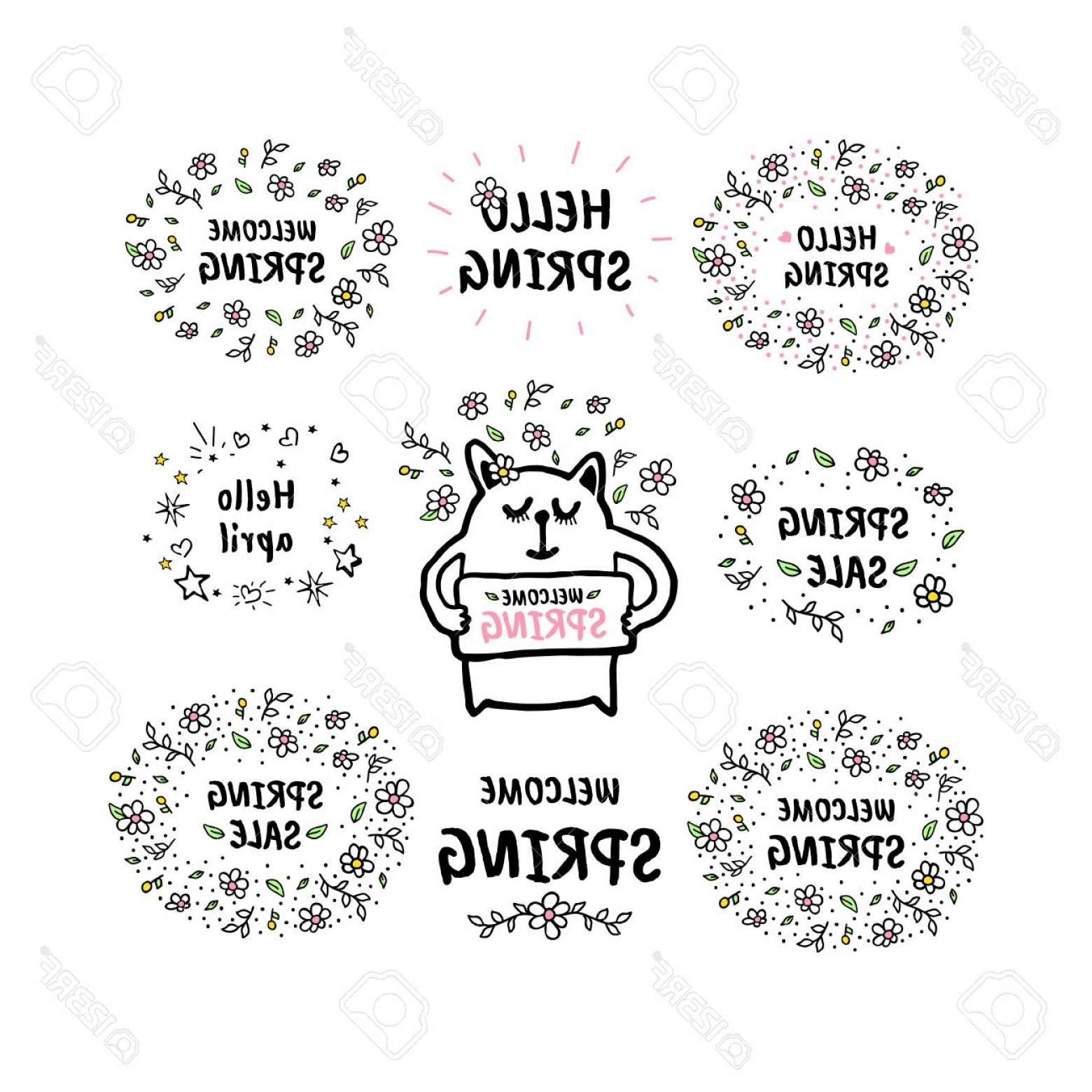 Cute Design Elements Vector Set: Photostock Vector Set Of Vector Cute Doodles Spring Illustrations With Text And Graphic Design Elements Fancy Trendy C
