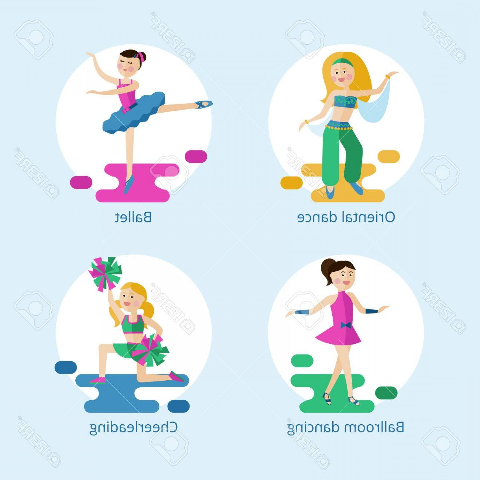 Vector Styles: Photostock Vector Set Of Vector Icons Types Of Dance Styles For Girls