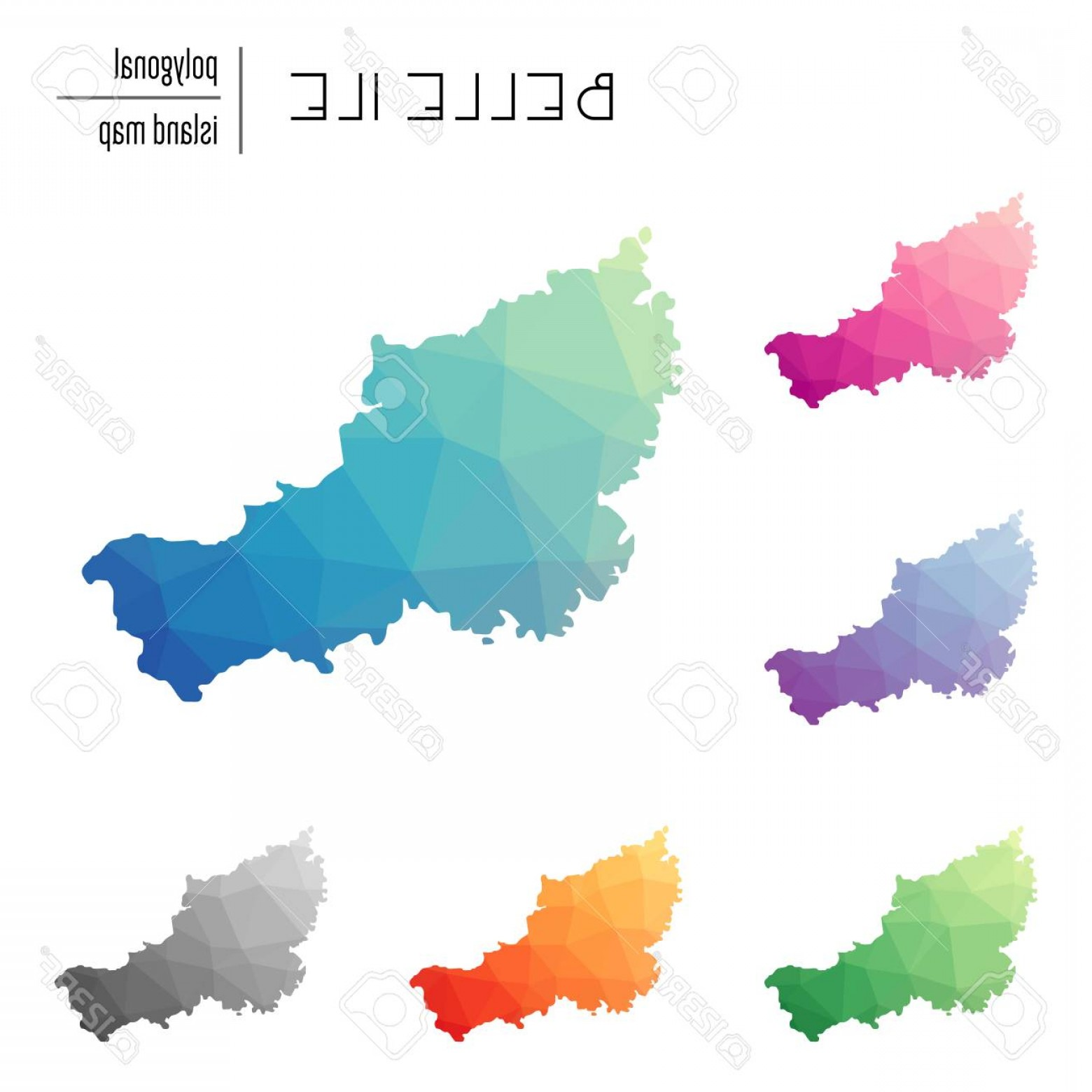 Belle EPS File Vector Art: Photostock Vector Set Of Vector Polygonal Belle Ile Maps Filled With Bright Gradient Of Low Poly Art Multicolored Isla