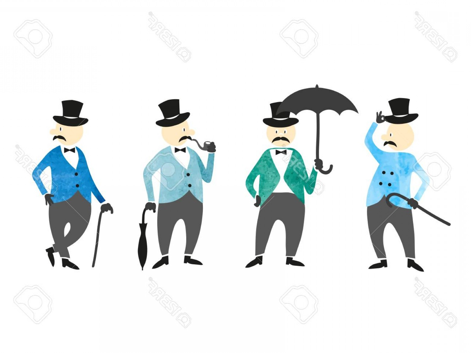 Victorian Vector Characters: Photostock Vector Set Of Victorian Gentlemen Vector Hand Drawn Collection Of Characters