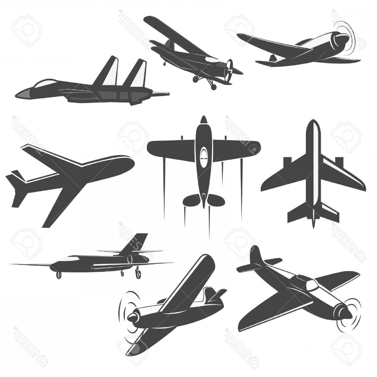 Old School Airplane Fighter Silhouette Vector: Photostock Vector Set Of Vintage Airplanes From Different Angles Planes Silhouettes Battle Plane Logotype Emblem Label