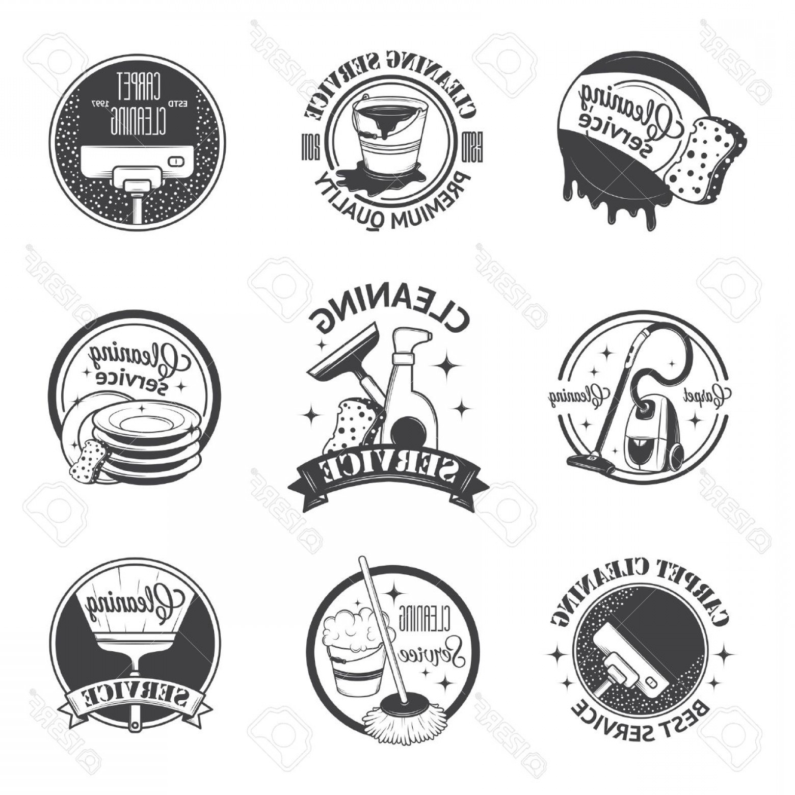 Cleaning Logo Vector Art: Photostock Vector Set Of Vintage Logos Labels And Badges Cleaning Services
