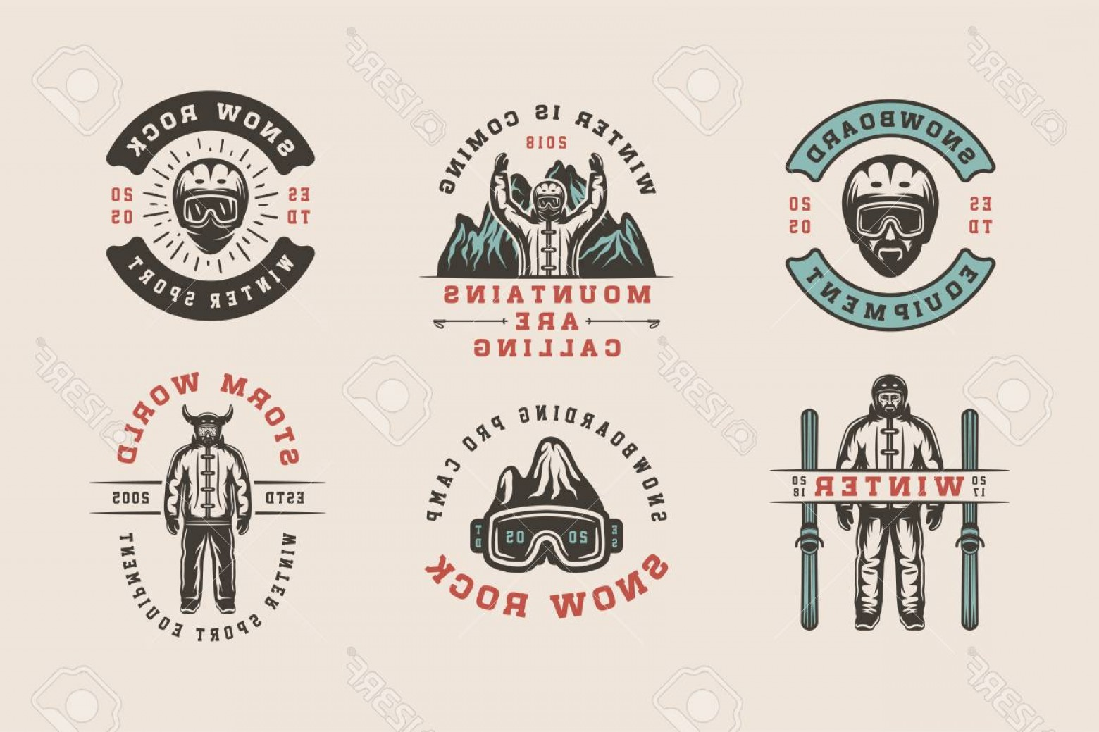Sports Logos Vector Art: Photostock Vector Set Of Vintage Snowboarding Ski Or Winter Sports Logos Badges Emblems And Design Elements Vector Ill