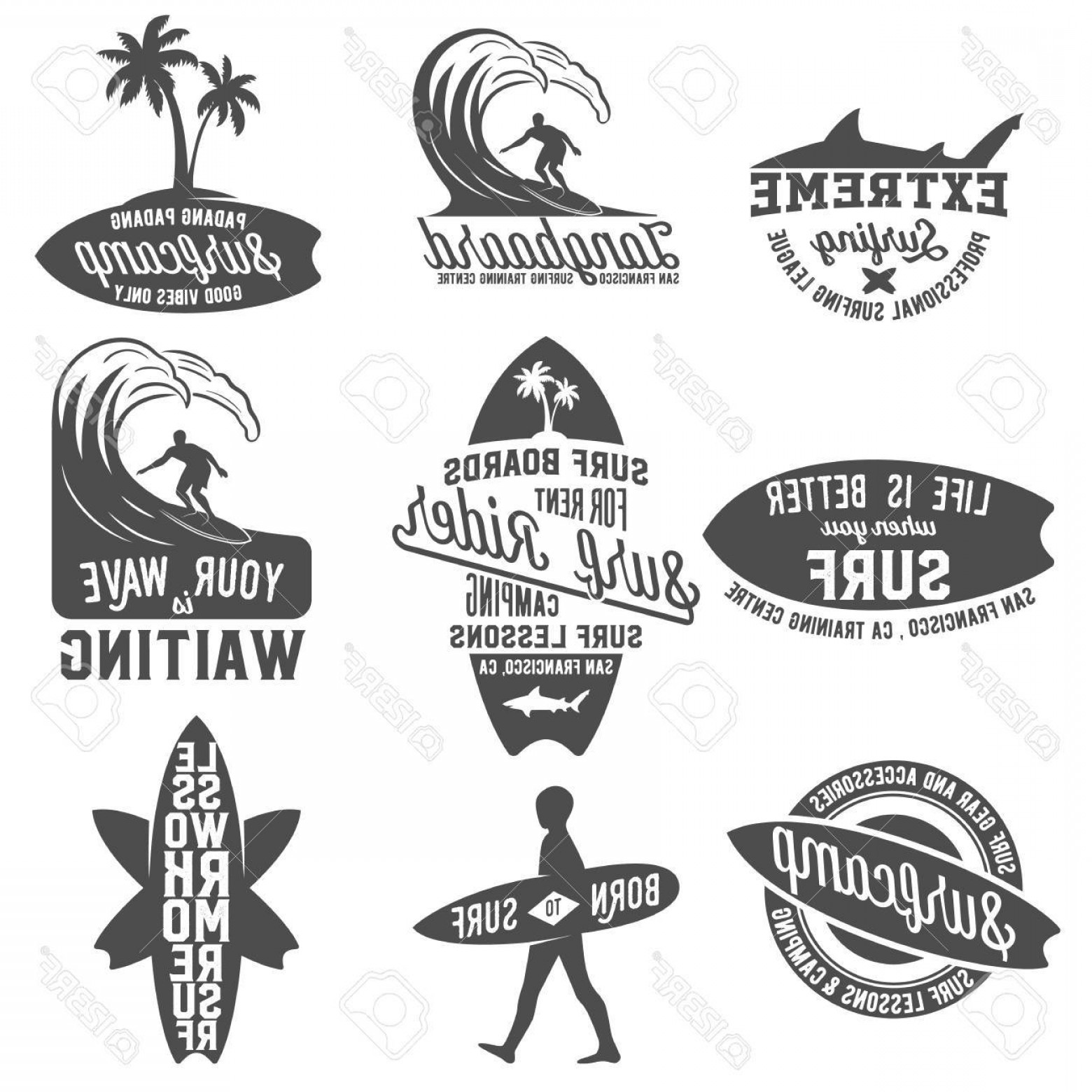 California Seal Vector EPS: Photostock Vector Set Of Vintage Surfing Logotypes Badges Quotes And Emblems Surfer Beach Style Logo Design Surf Badge