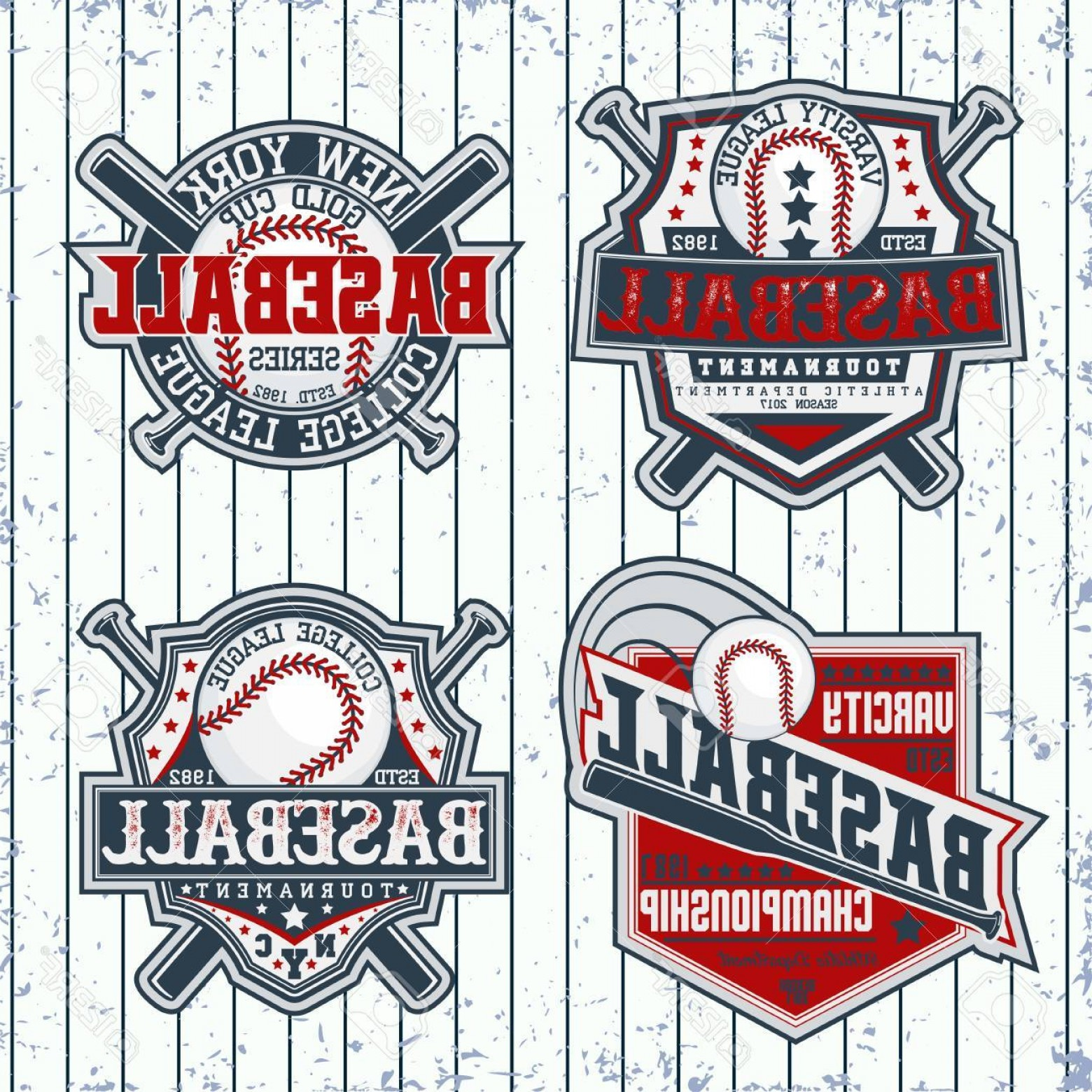 Sports Logos Vector Art: Photostock Vector Set Of Vintage T Shirt Graphic Designs Creative Print Stamps Baseball Typography Emblems Sports Logo