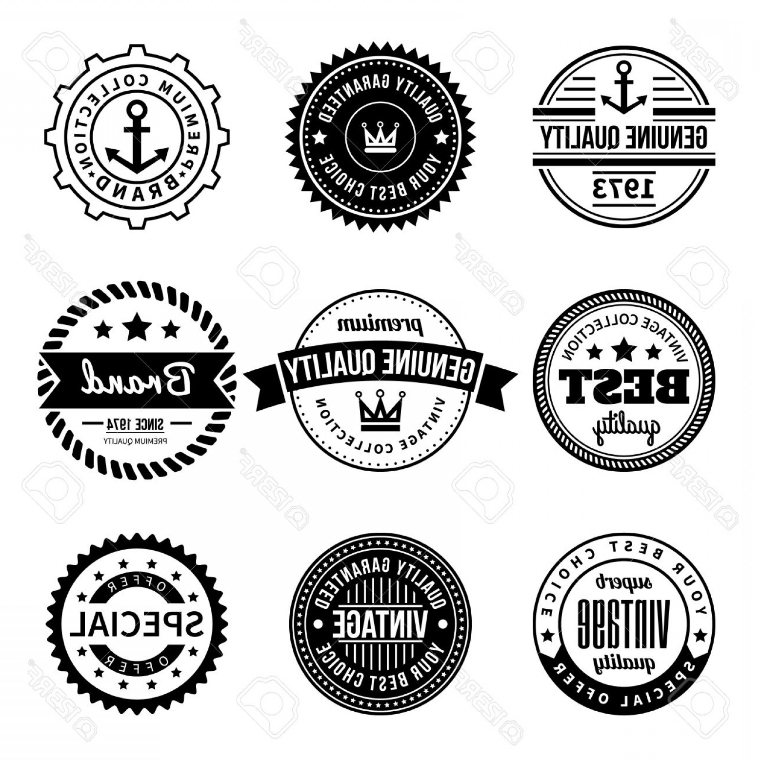 Hipster Vector Ribbon: Photostock Vector Set Of Vintage Vector Labels And Badges Hipster Style With Anchor Crown Star Rope Ribbon Design Elem