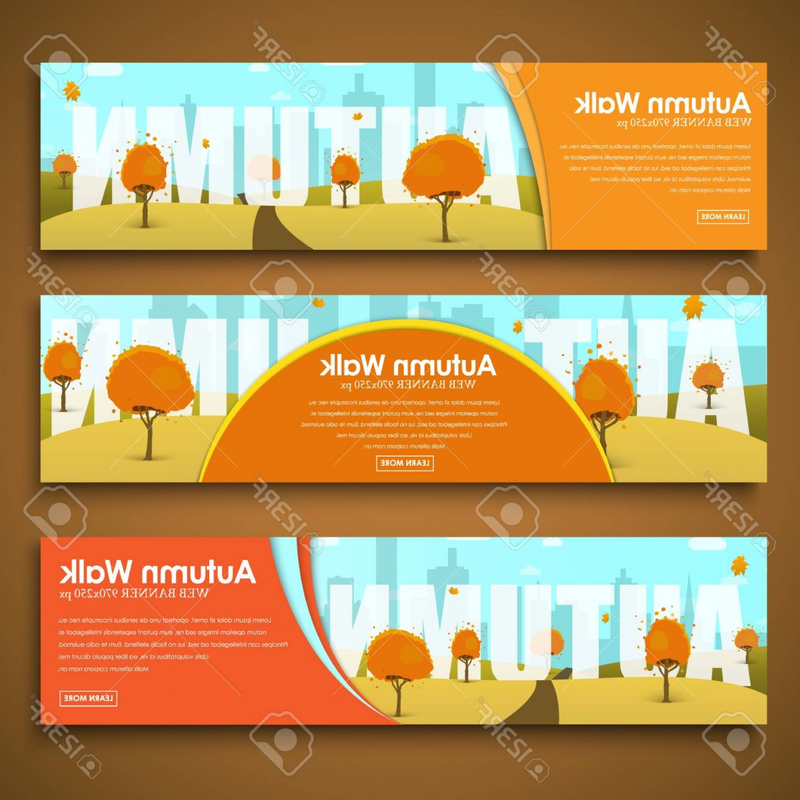 Open VI Stock Vector: Photostock Vector Set Of Web Banners With Autumn Landscape Advertising Templates Walks In The Open Air Vector Illustra