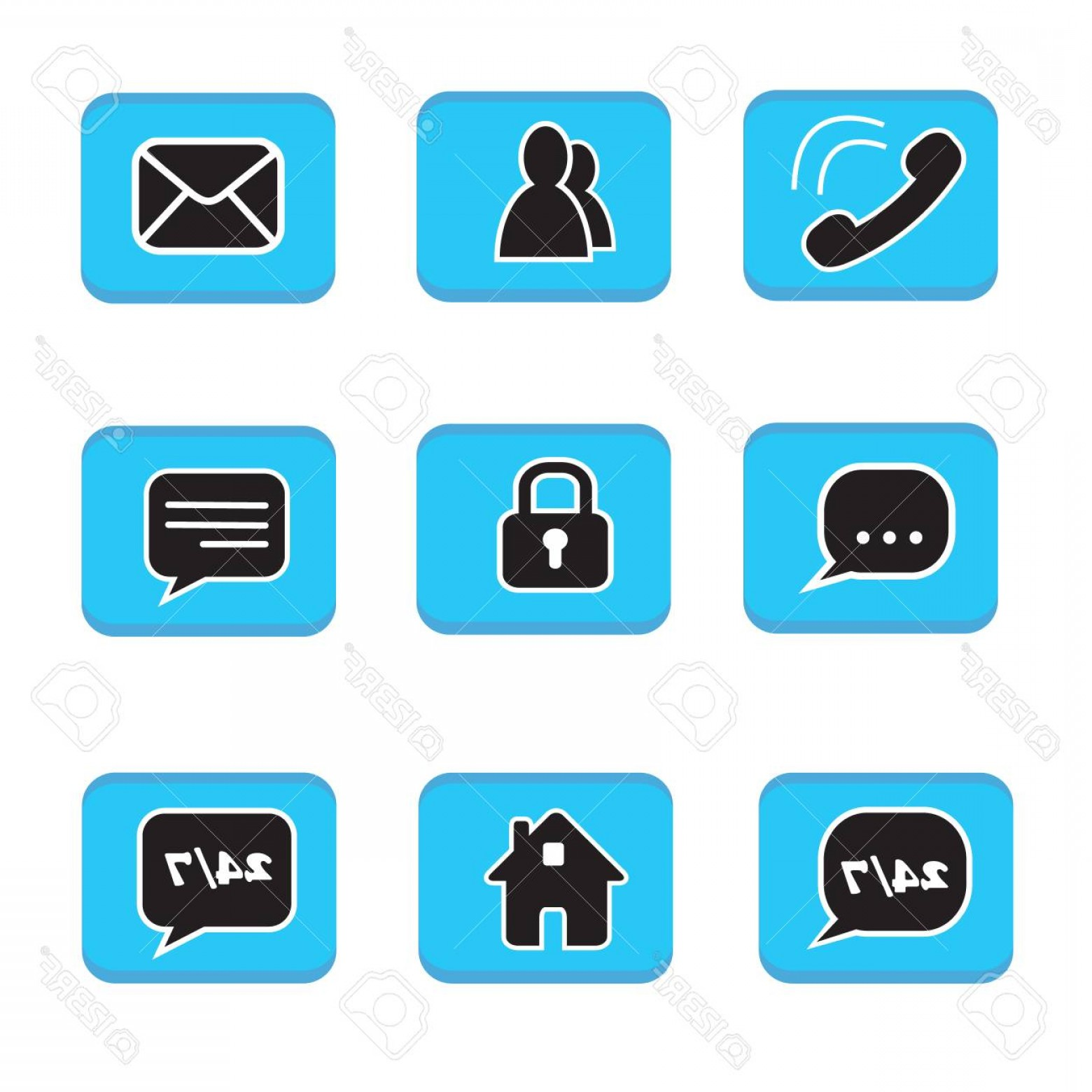 Contact Button Icons Vector Free: Photostock Vector Set Of Web Button Icons Contact Symbol Collection Black And White On Blue Button Phone Mail Life Cha