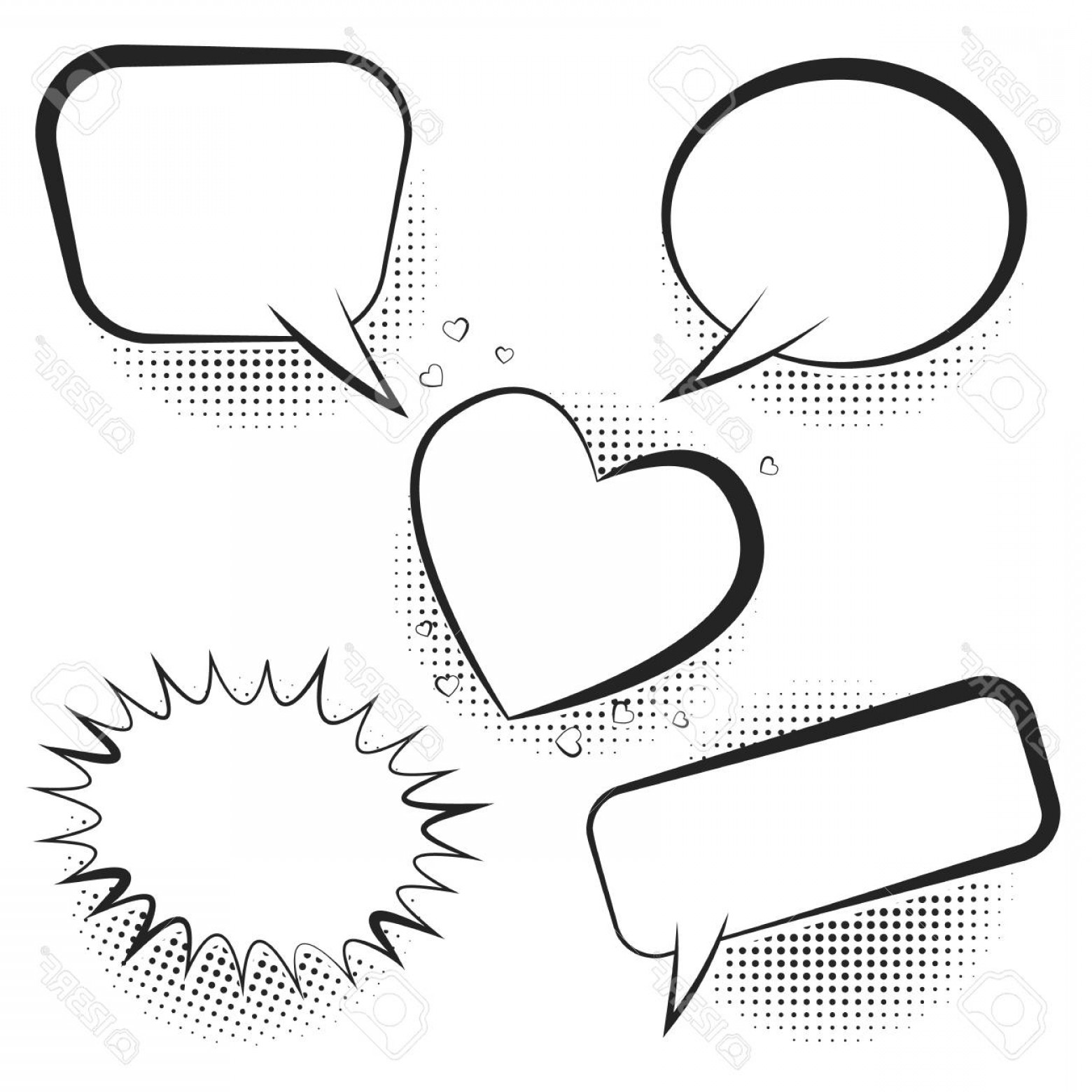 Vector Art Black And White Bubbles: Photostock Vector Set Of White Empty Retro Comic Speech Bubbles With Black Halftone Shadow In Pop Art Style Black Outl