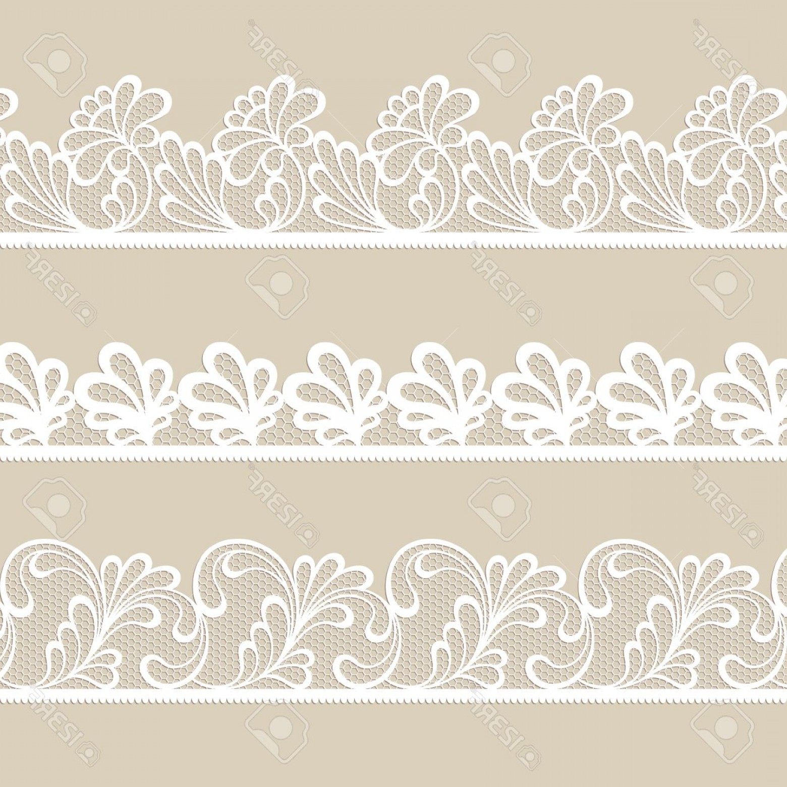 White Lace Vector: Photostock Vector Set Of White Lace Vector Borders