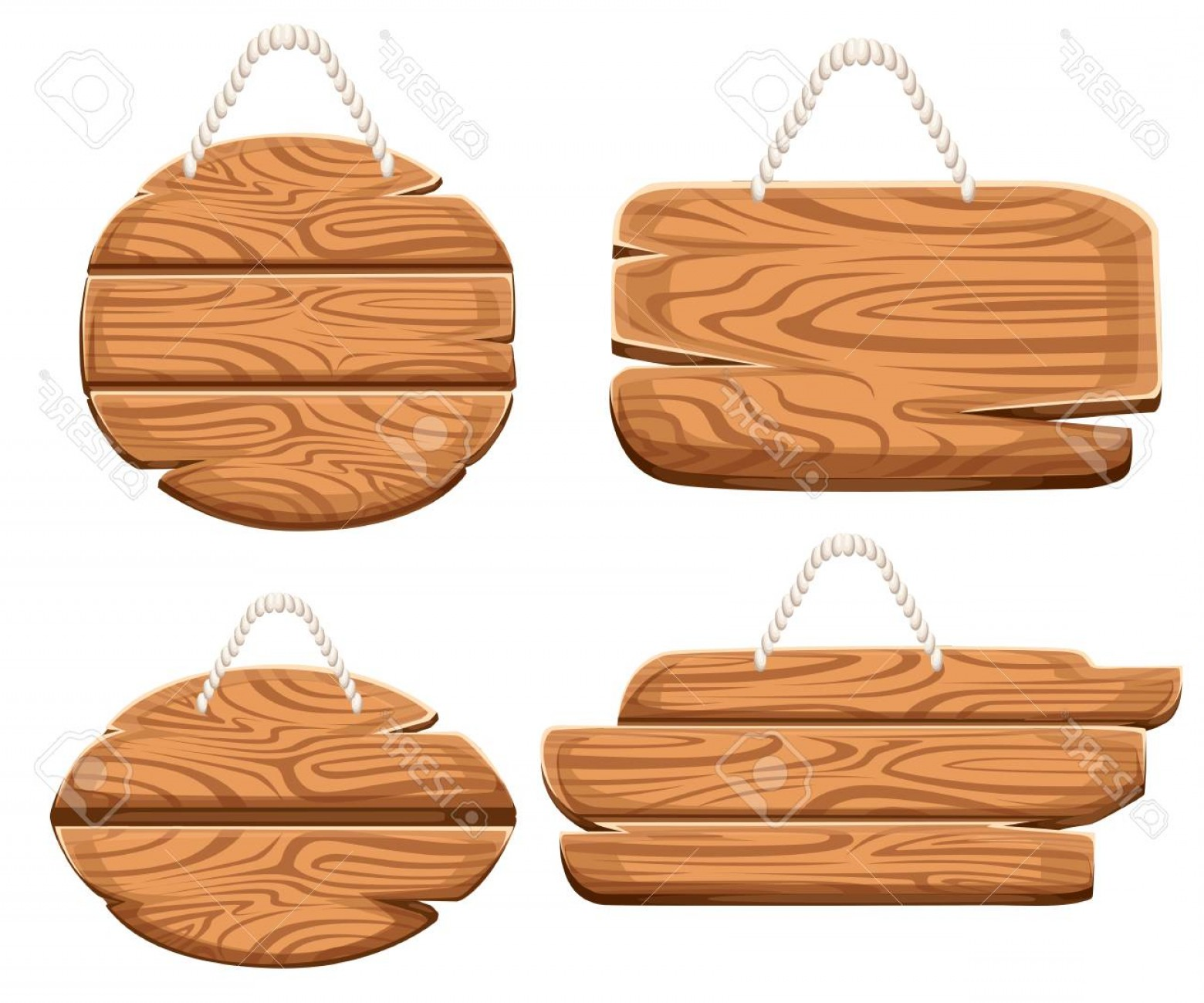 Old Wood Sign Vector: Photostock Vector Set Of Wooden Plaques On Rope In Cartoon Style Wooden Sign Board Collections Wood Sign Old Road Plan