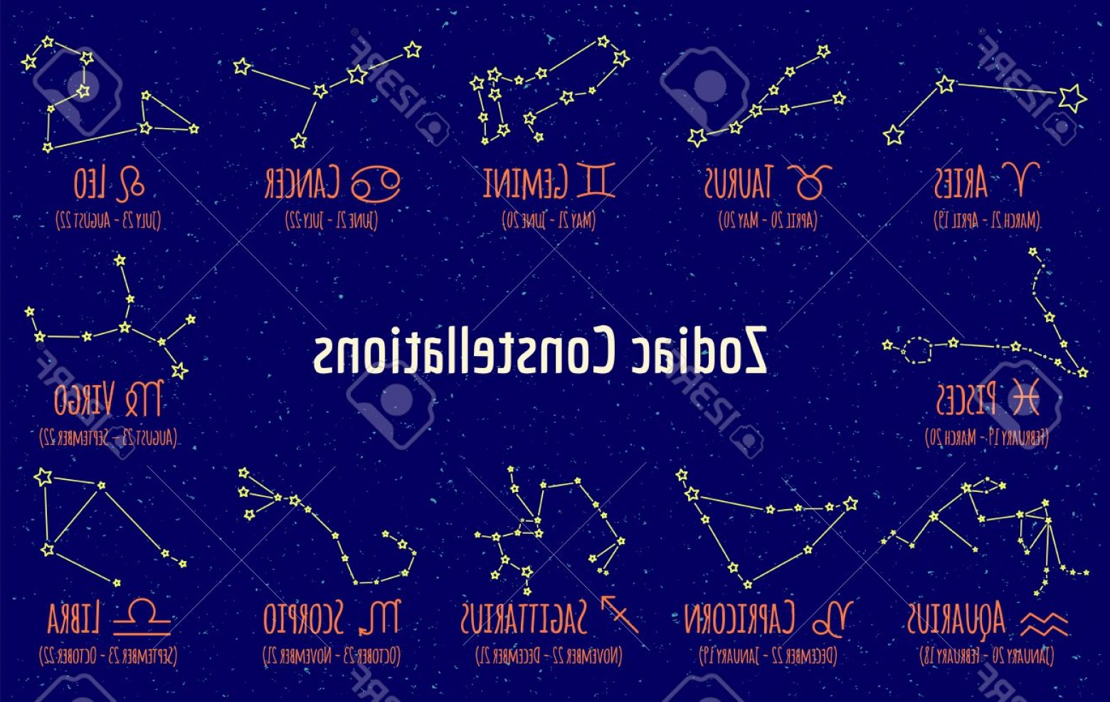 October Zodiac Constellation Vector: Photostock Vector Set Of Zodiac Signs And Constellations Collection Of Blue Backgrounds Zodiac Pisces Scorpio Libra Aq