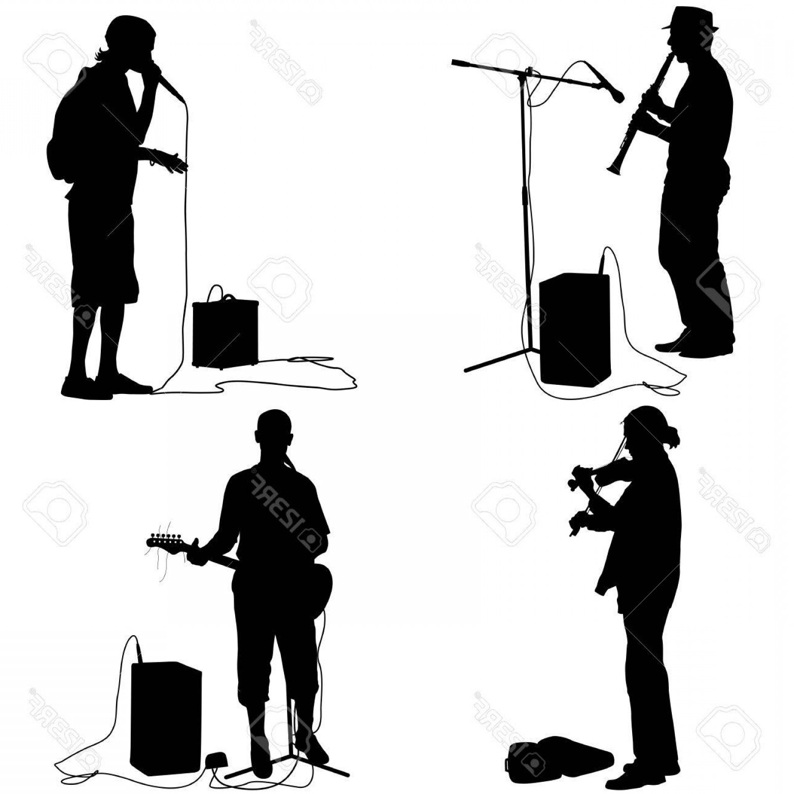 Musician Person Vector: Photostock Vector Set Silhouettes Musicians Playing Musical Instruments Vector Illustration
