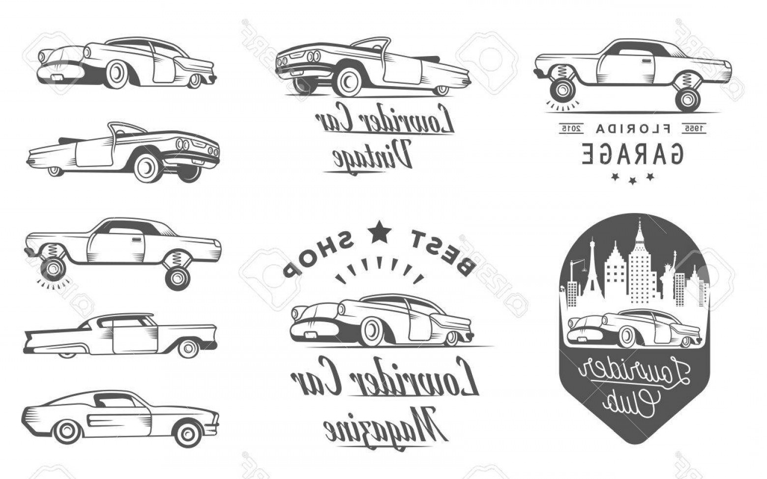 Lowrider Vector: Photostock Vector Set Vintage Lowrider Logo Badge Sign Emblems Sticers And Elements Design Collection Black And White