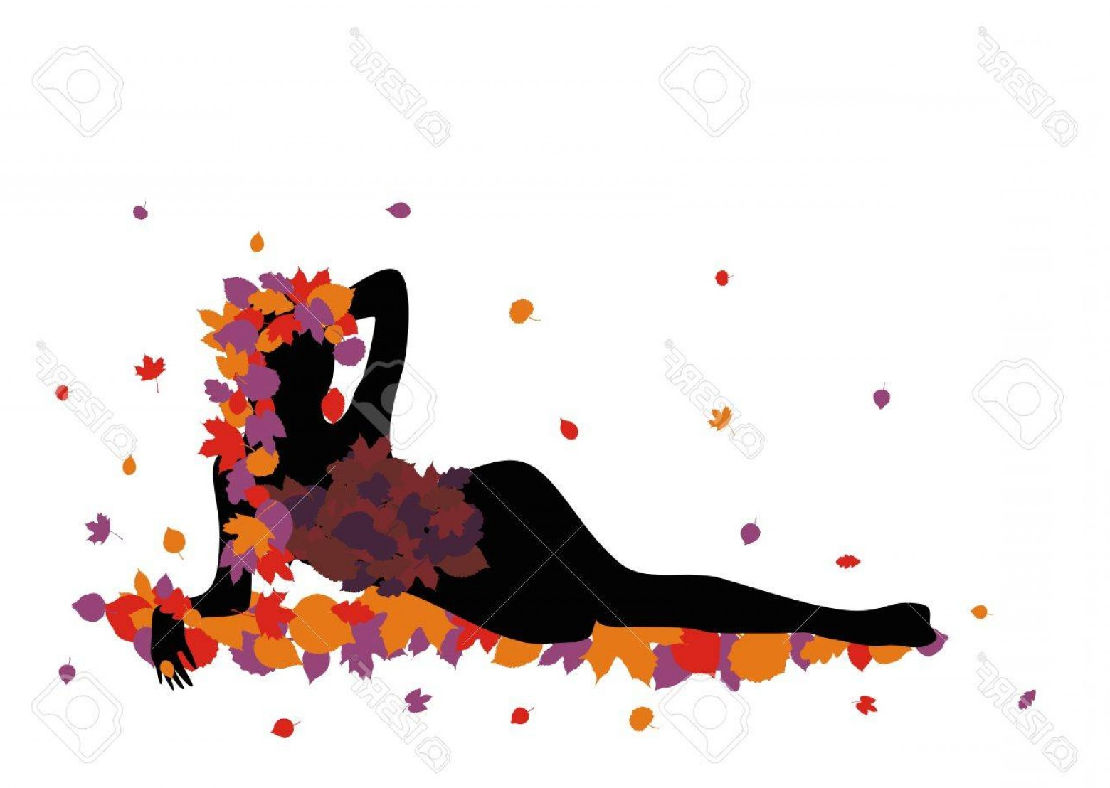 Sexy Silhouette Vector Art: Photostock Vector Sexy Silhouette Of A Girl Lying On Leaves