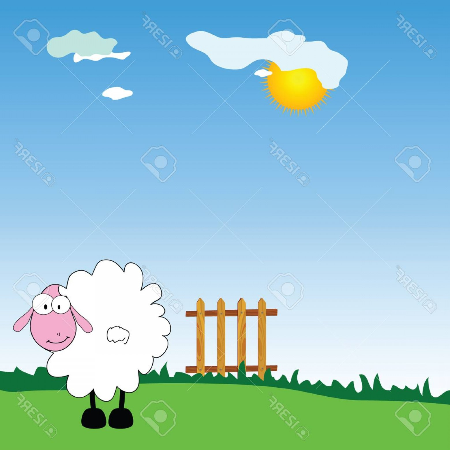 Farm Vector Illustration: Photostock Vector Sheep On The Farm Vector Illustration On Green Grass