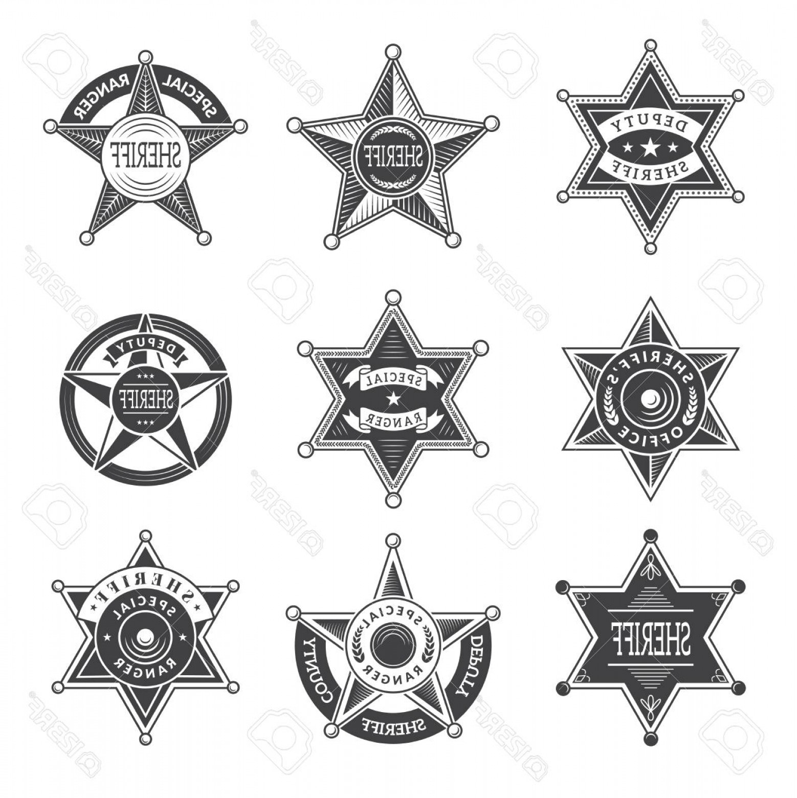 Star Badge Vector: Photostock Vector Sheriff Stars Badges Western Star Texas And Rangers Shields Or Logos Vintage Vector Pictures Illustr