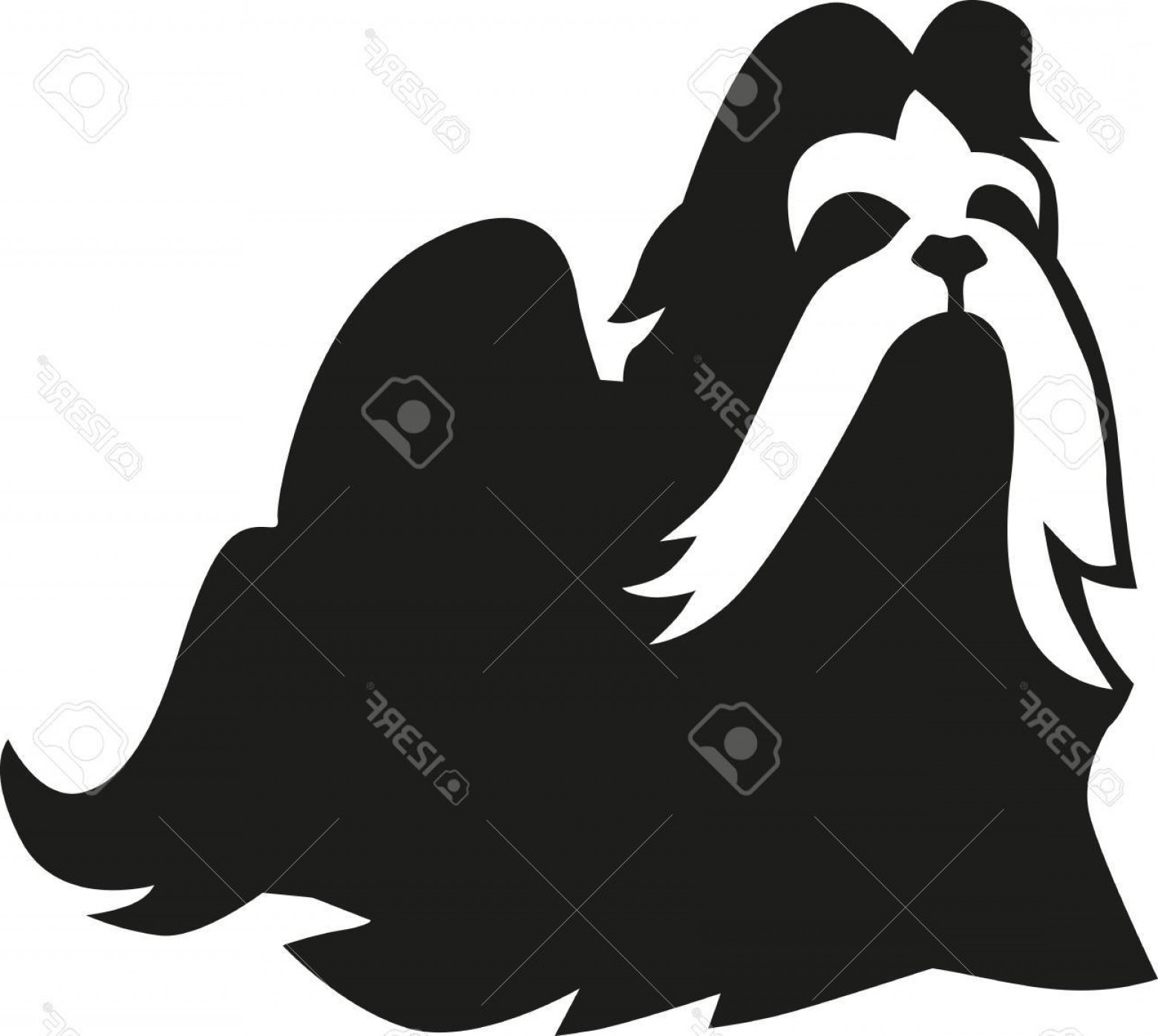 Shih Tzu Vector Siluete: Photostock Vector Shih Tzu With Long Hair