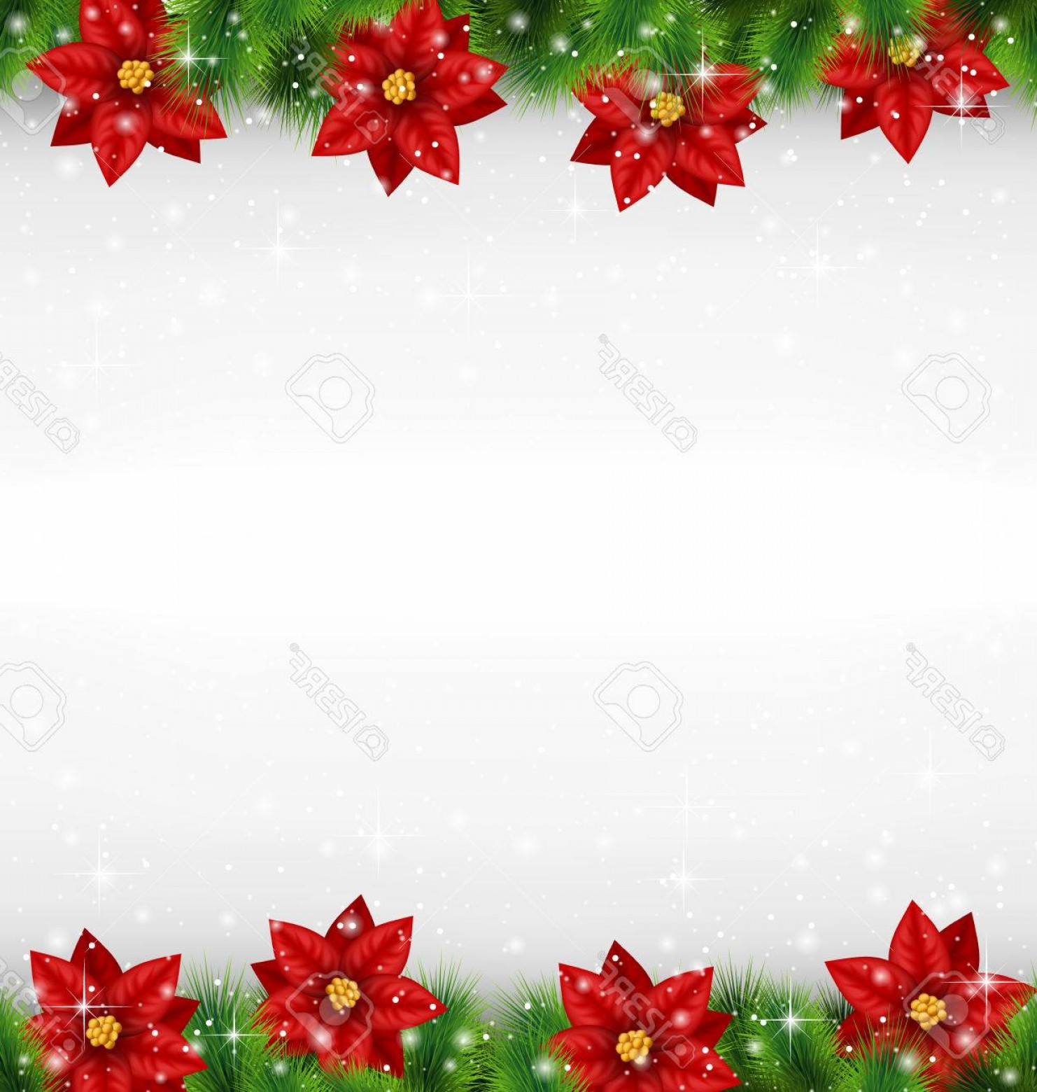 Vector-Based Grayscale Christmas: Photostock Vector Shiny Green Pine Branches Like Frame With Flower Of Poinsettia In Snowfall On Grayscale Background