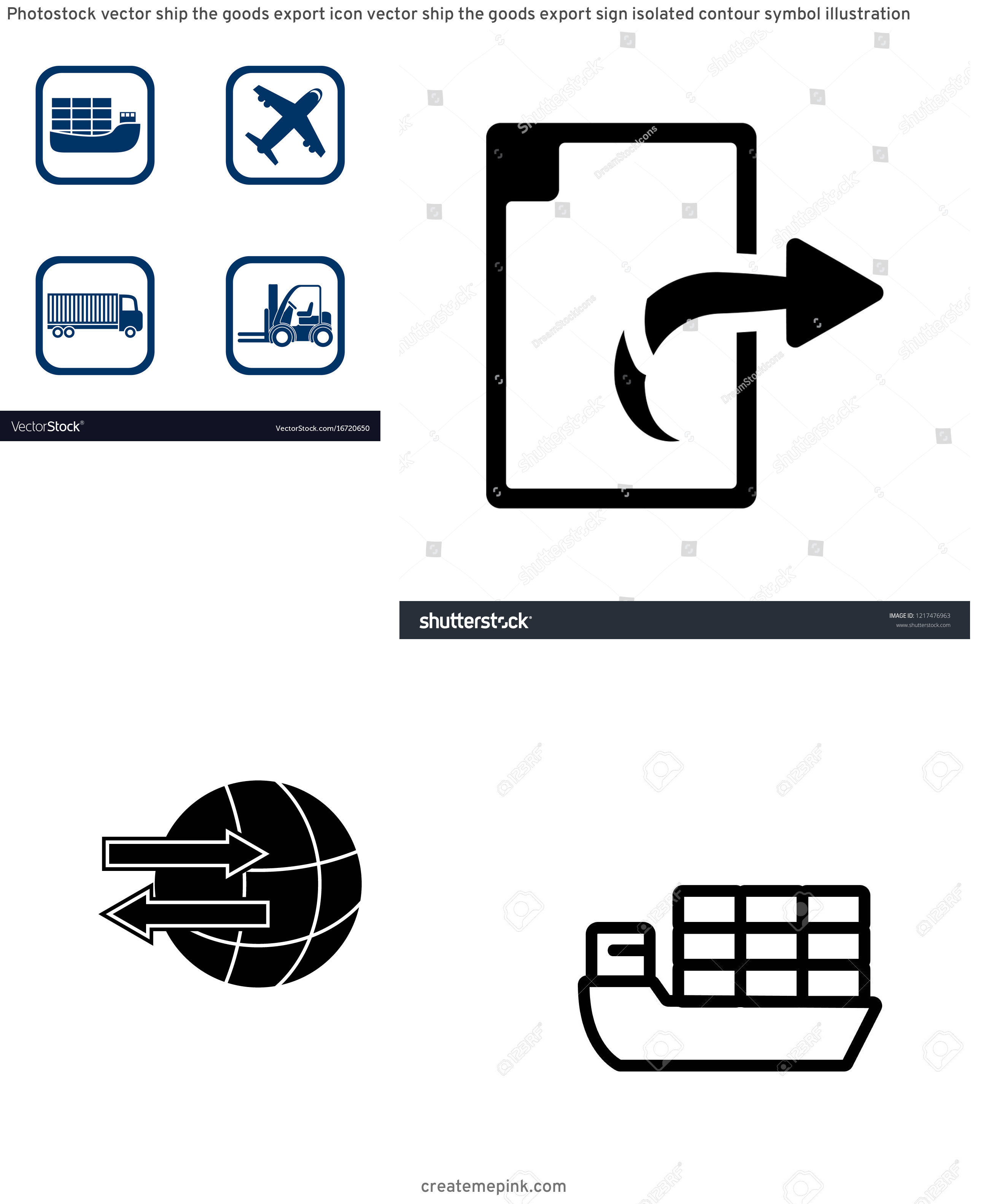 Export Icon Vector: Photostock Vector Ship The Goods Export Icon Vector Ship The Goods Export Sign Isolated Contour Symbol Illustration