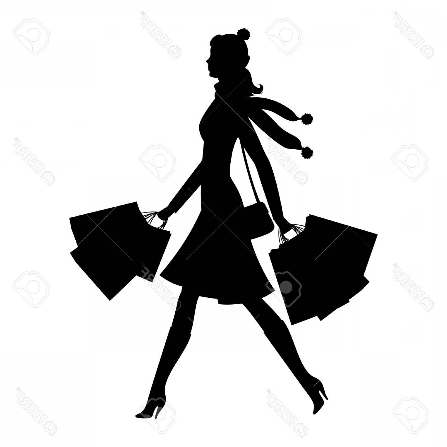 Young Woman Silhouette Vector: Photostock Vector Shopper Young Woman Silhouette Of Girl With Shopping Bags Sale And Shopping Concept Vector Illustrat