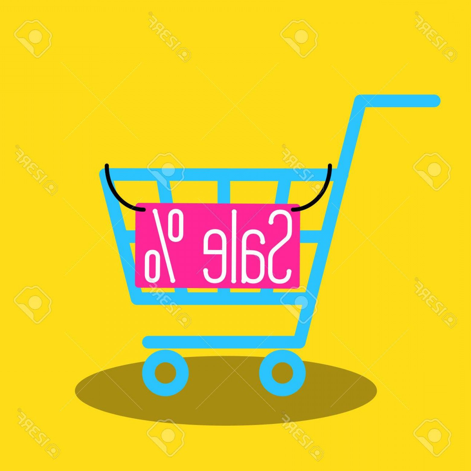 Nameplate Vector Graphics: Photostock Vector Shopping Cart Vector Icon With Sale Nameplate Empty Market Cart For Sale Banner
