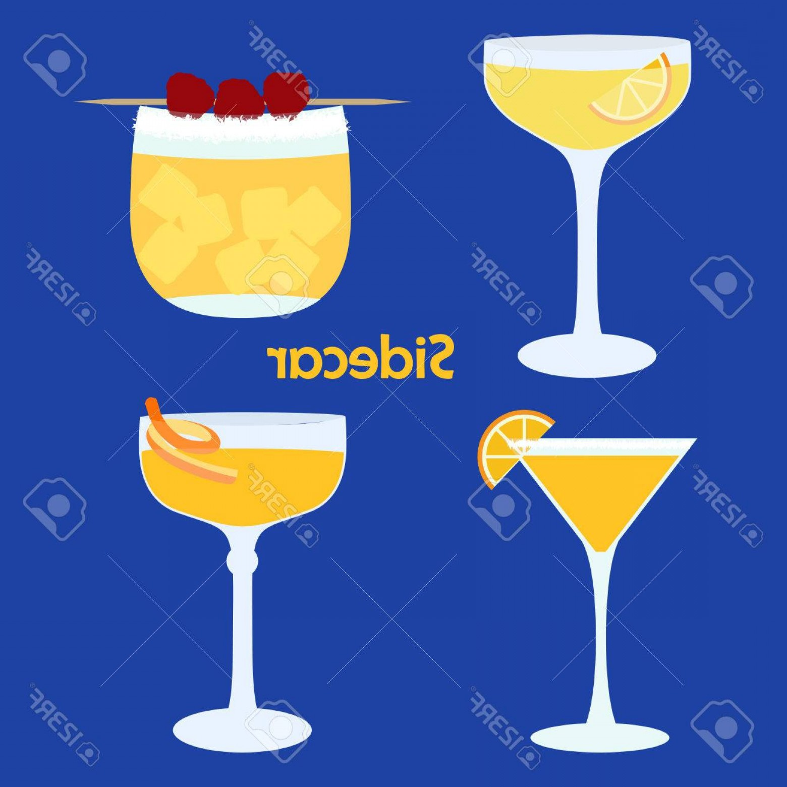 Cocktail Glasses Vector Art Decor: Photostock Vector Sidecar Alcohol Cocktail In Different Glasses Illustration For Bar Menu Restaurant Decoration Party