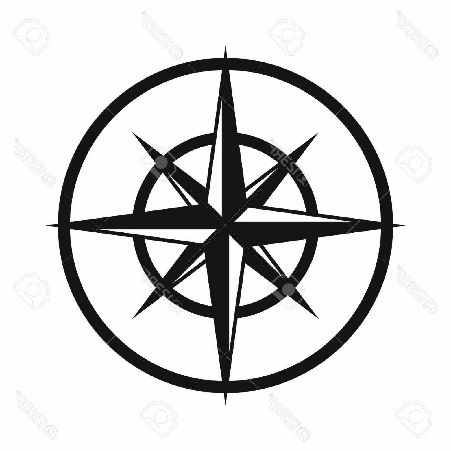 Simple Compass Vector Black And White: Photostock Vector Sign Of Compass To Determine Cardinal Directions Icon In Simple Style Isolated On White Background N