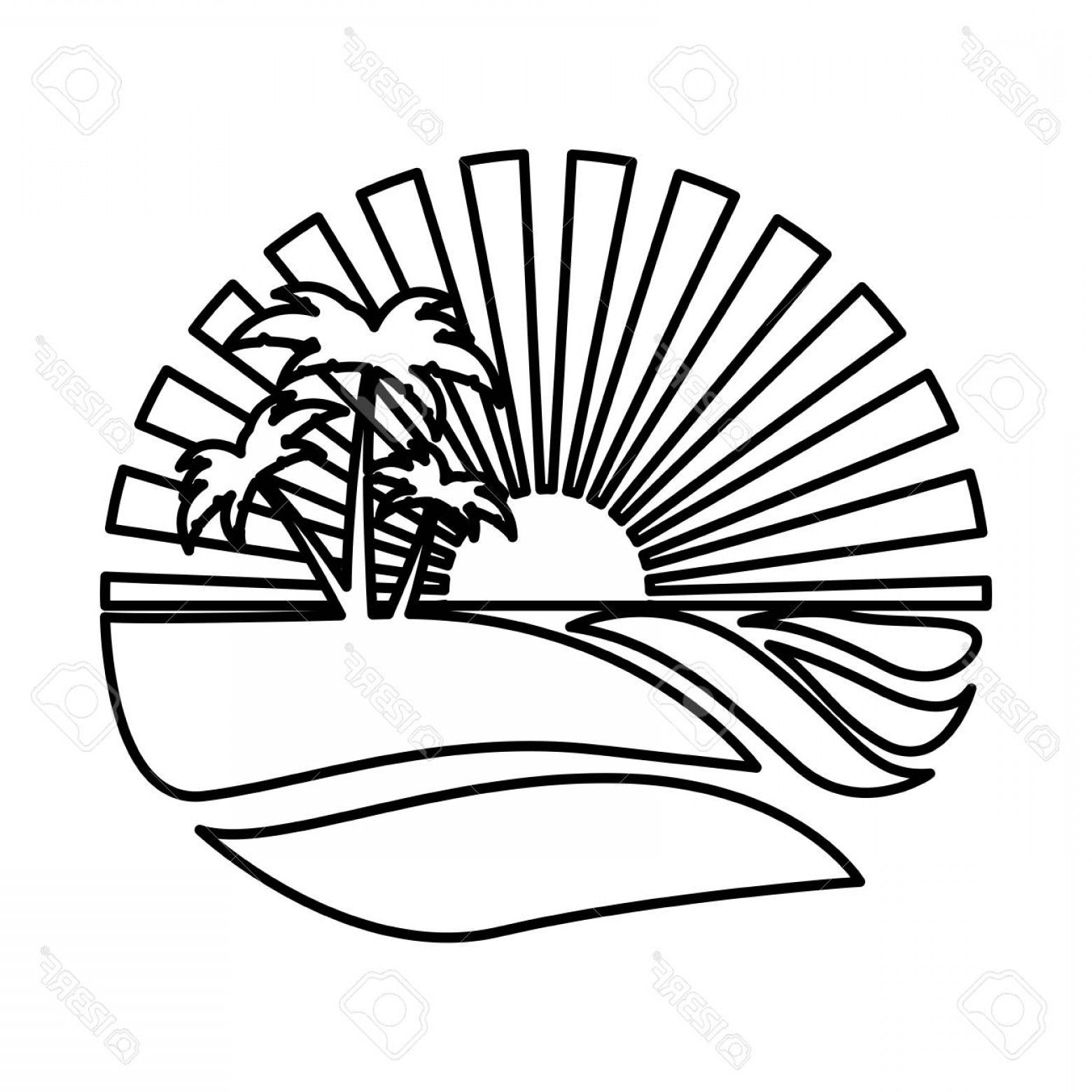 Sunset Beach Vector Outline: Photostock Vector Silhouette Circular Background Sunset In The Ocean With Beach And Palms Vector Illustration