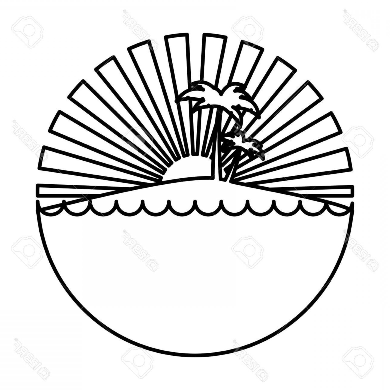 Sunset Black And White Backgrounds Vector: Photostock Vector Silhouette Circular Background Sunset In The Ocean With Island And Palms Vector Illustration
