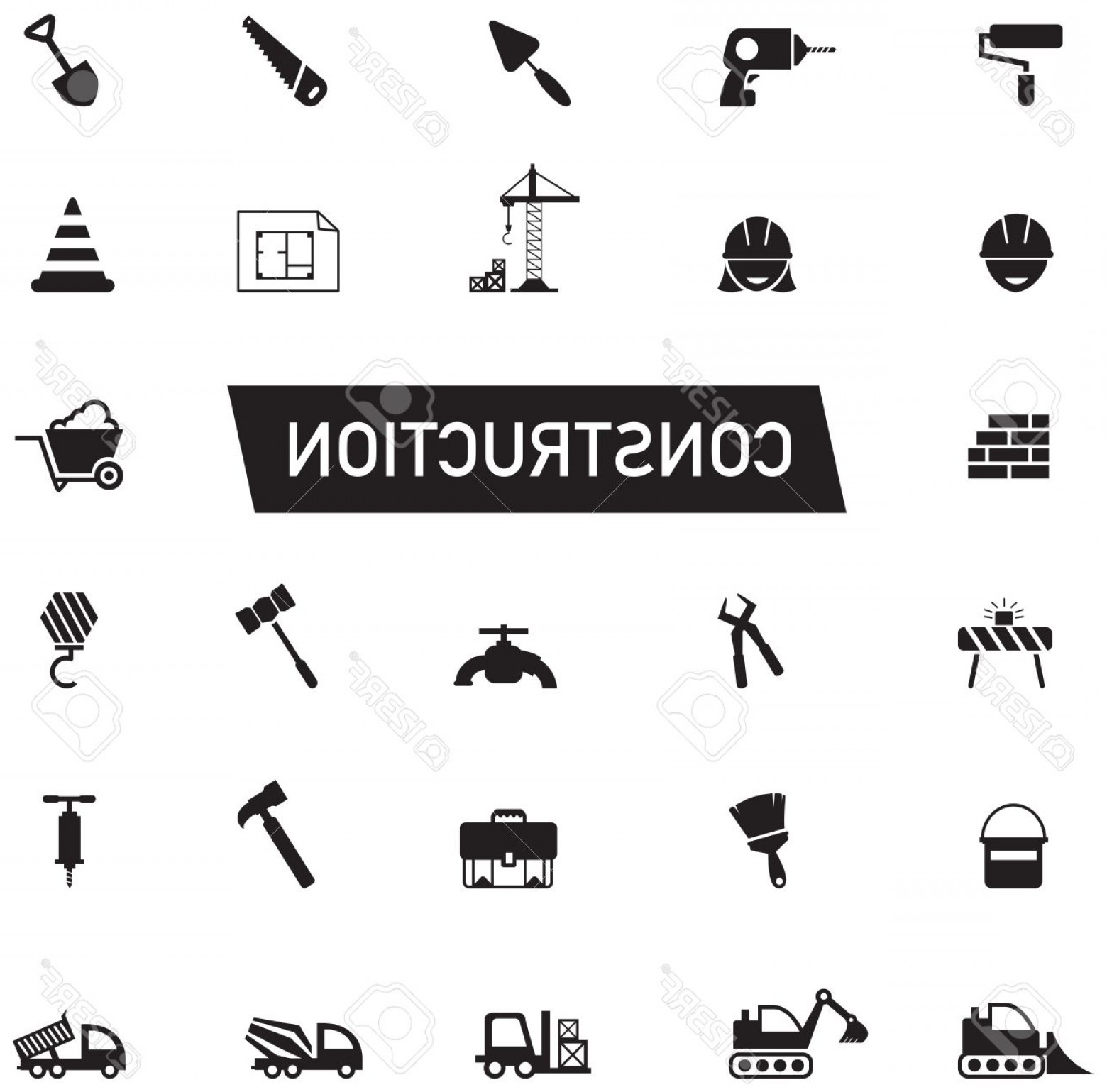 Vector Graphic Of Civil Engineering: Photostock Vector Silhouette Civil Engineering Maintenance Labor Excavator Transport And Construction Site Industry Gr