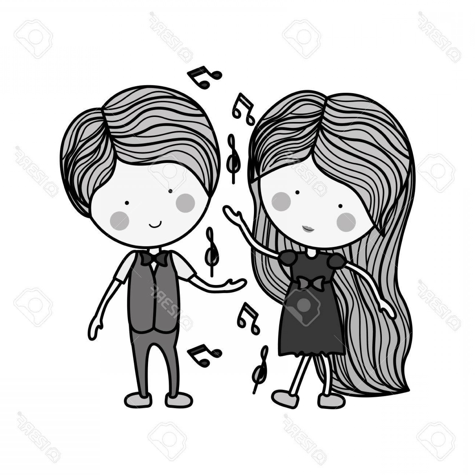 Dancing Musical Notes Vector: Photostock Vector Silhouette Couple Dancing With Musical Notes Illustration