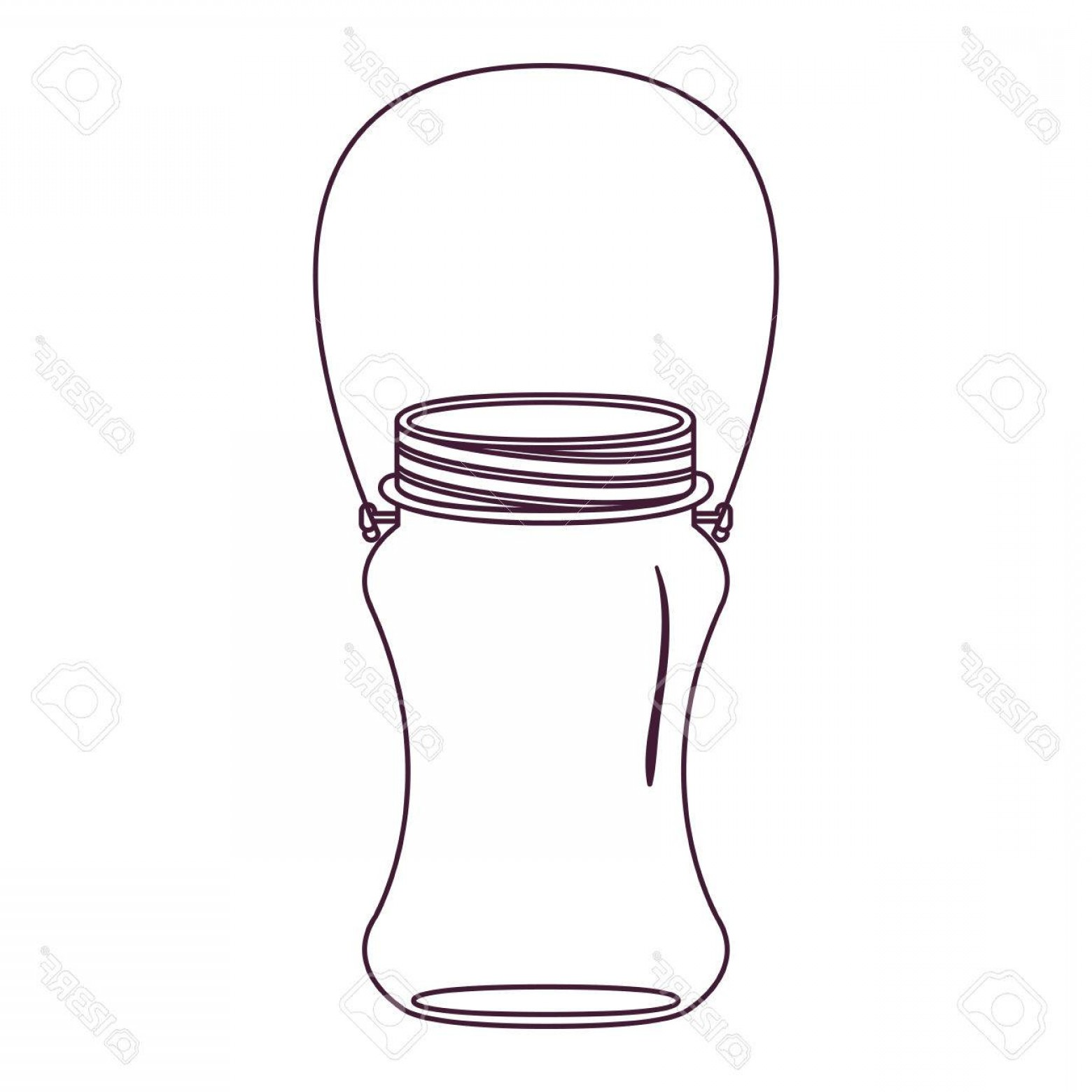 Mason Jar Outline Vector: Photostock Vector Silhouette Curved Glass Container With Handle Vector Illustration