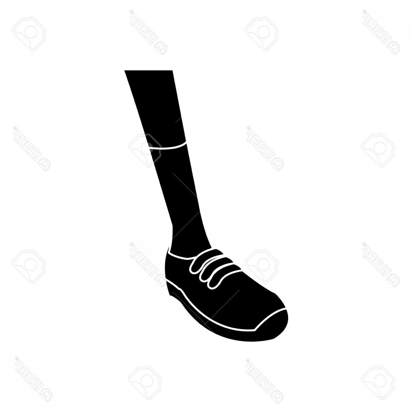 Sneaker Silhouette Vector: Photostock Vector Silhouette Foot Sneaker Sport Concept Vector Illustration