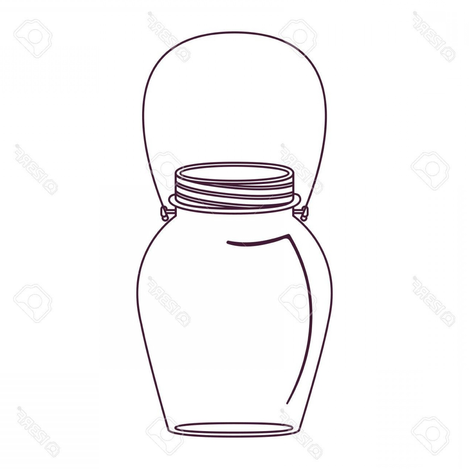 Mason Jar Outline Vector: Photostock Vector Silhouette Glass Jar Decorative With Handle Vector Illustration
