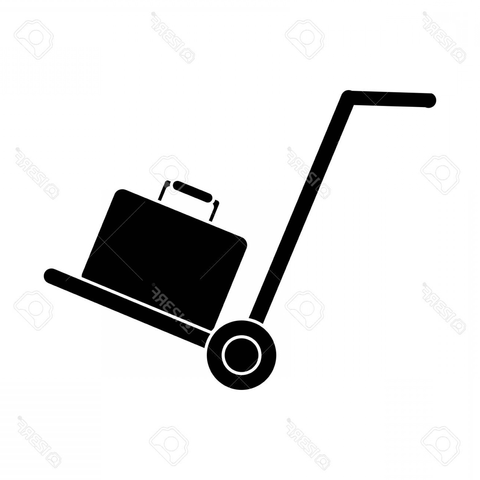 Hand Cart Silhouette Vectors: Photostock Vector Silhouette Hand Cart Suitcase Luggage Travel Equipment Vector Illustration
