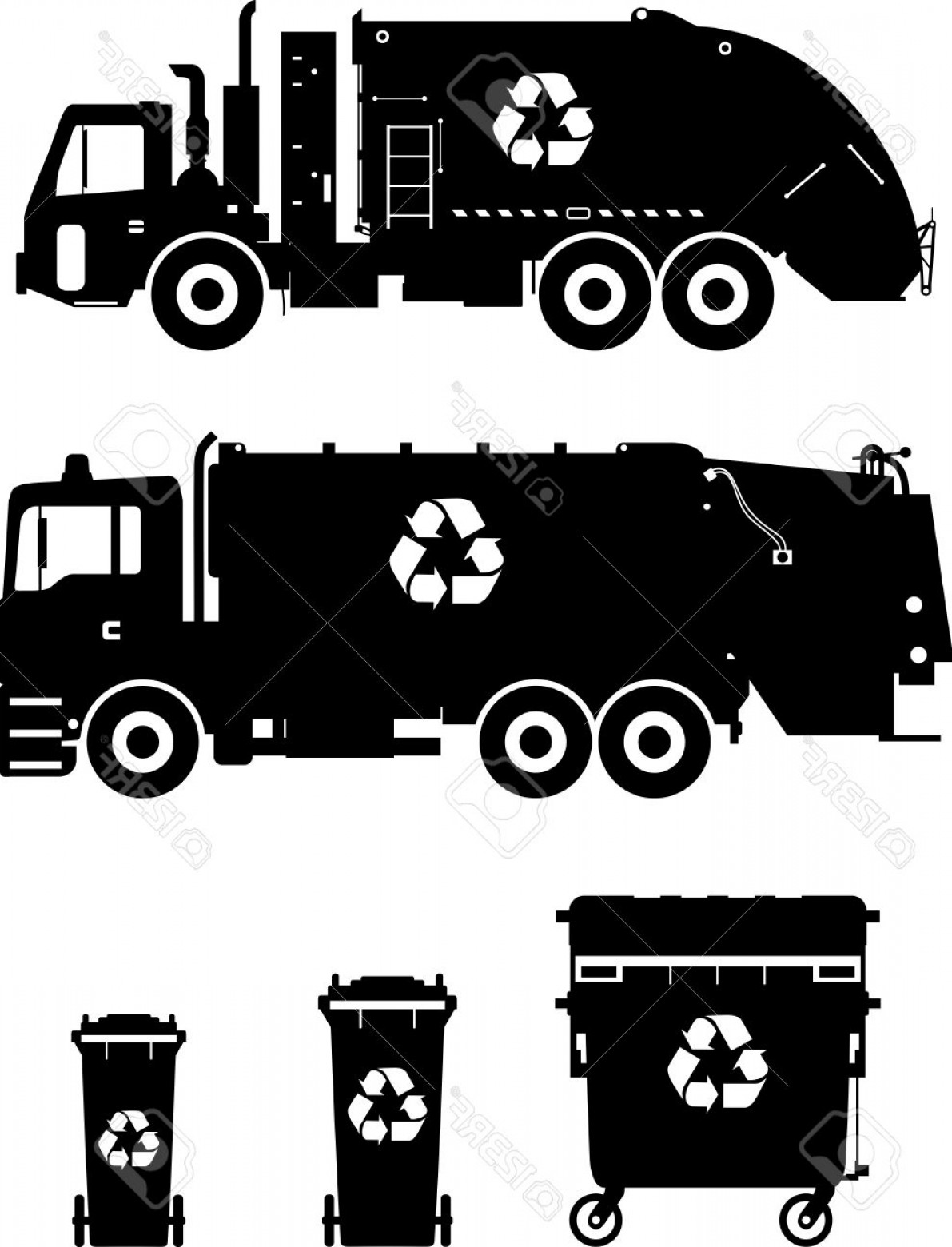 Dump Truck Vector Black And White: Photostock Vector Silhouette Illustration Of Garbage Trucks And Dumpsters Isolated On White Background
