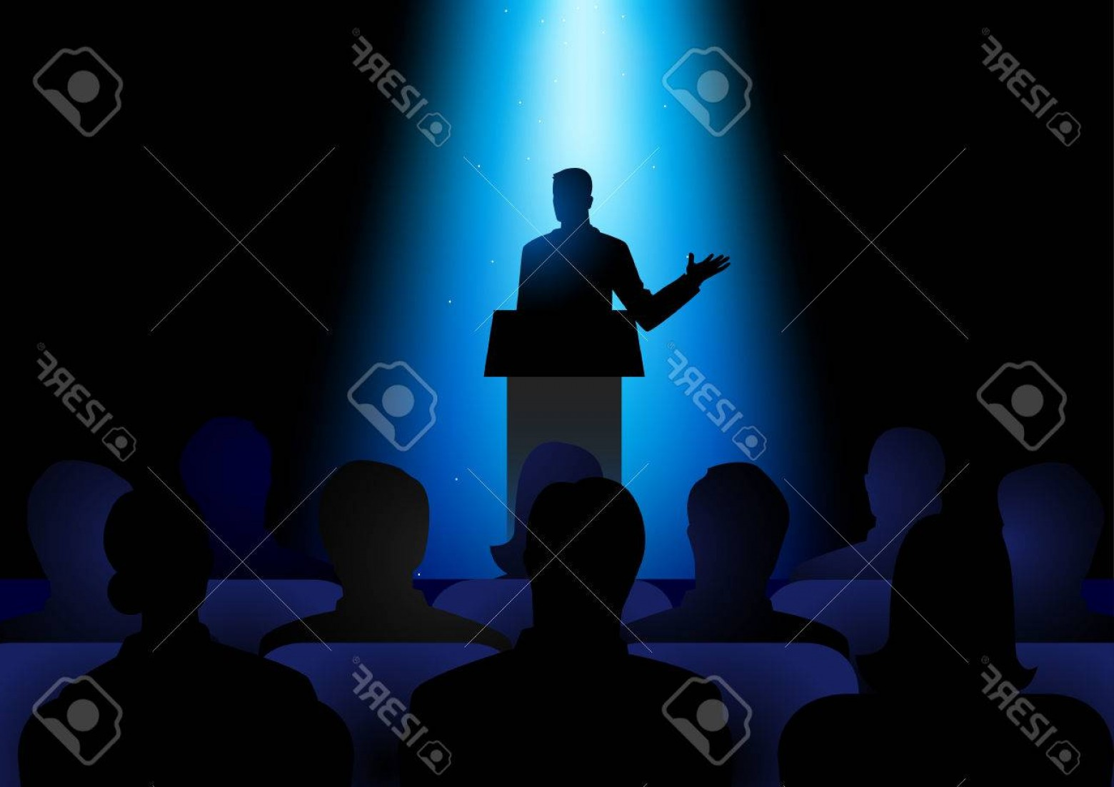 Vector Stage Audience: Photostock Vector Silhouette Illustration Of Man Figure Giving A Speech On Stage Audience Seminar Conference Theme