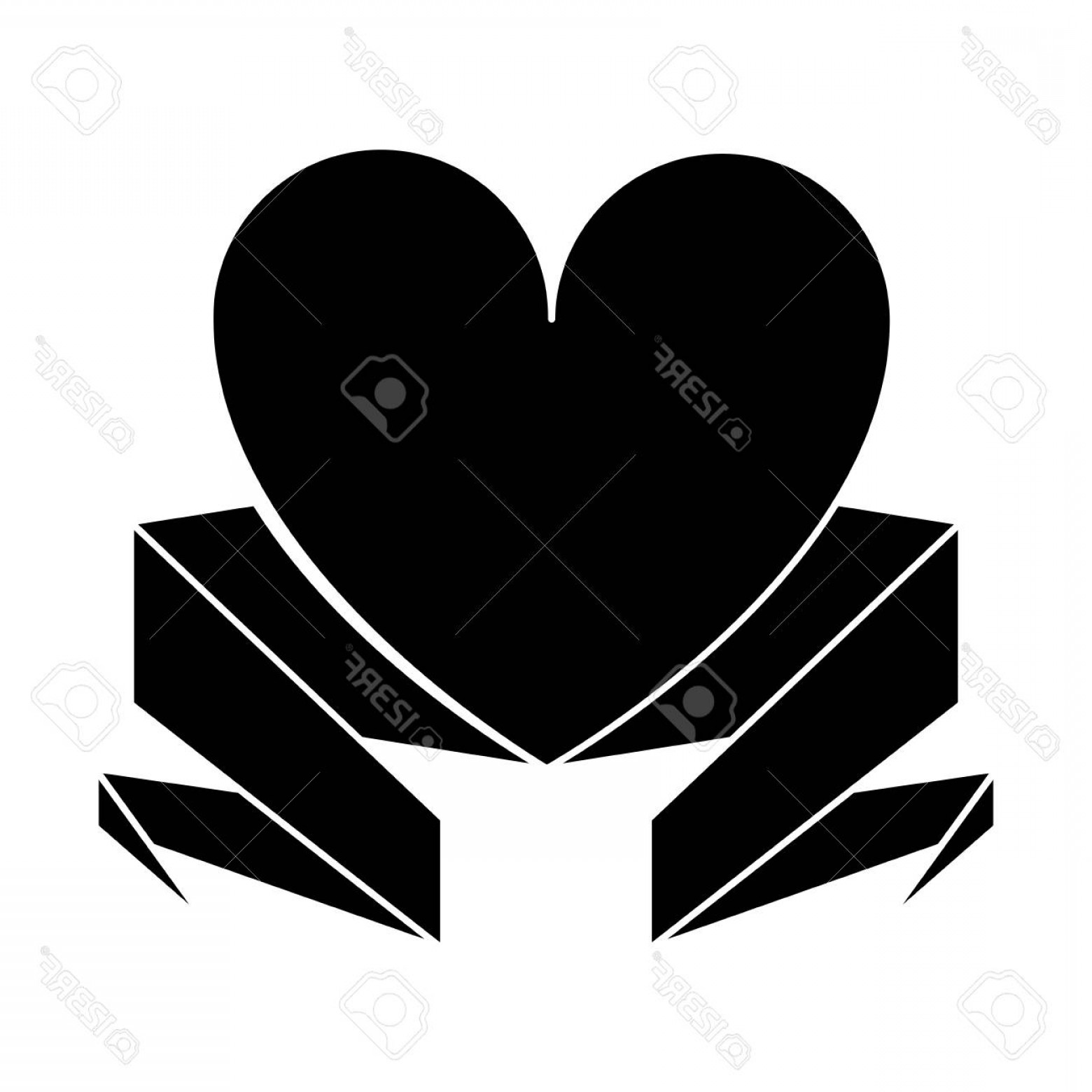 Vector Silhouette Love: Photostock Vector Silhouette Love Heart With Ribbon Decoration Vector Illustration Eps